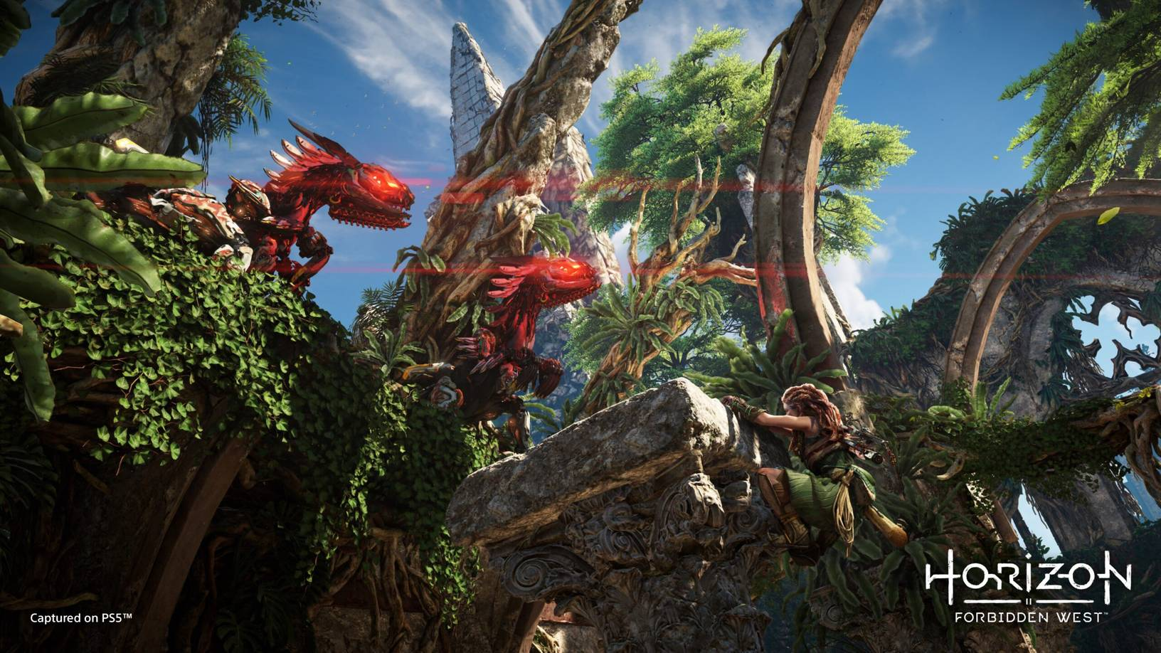 Two machine beasts overlooking Aloy, hanging from a ledge, in Horizon Forbidden West
