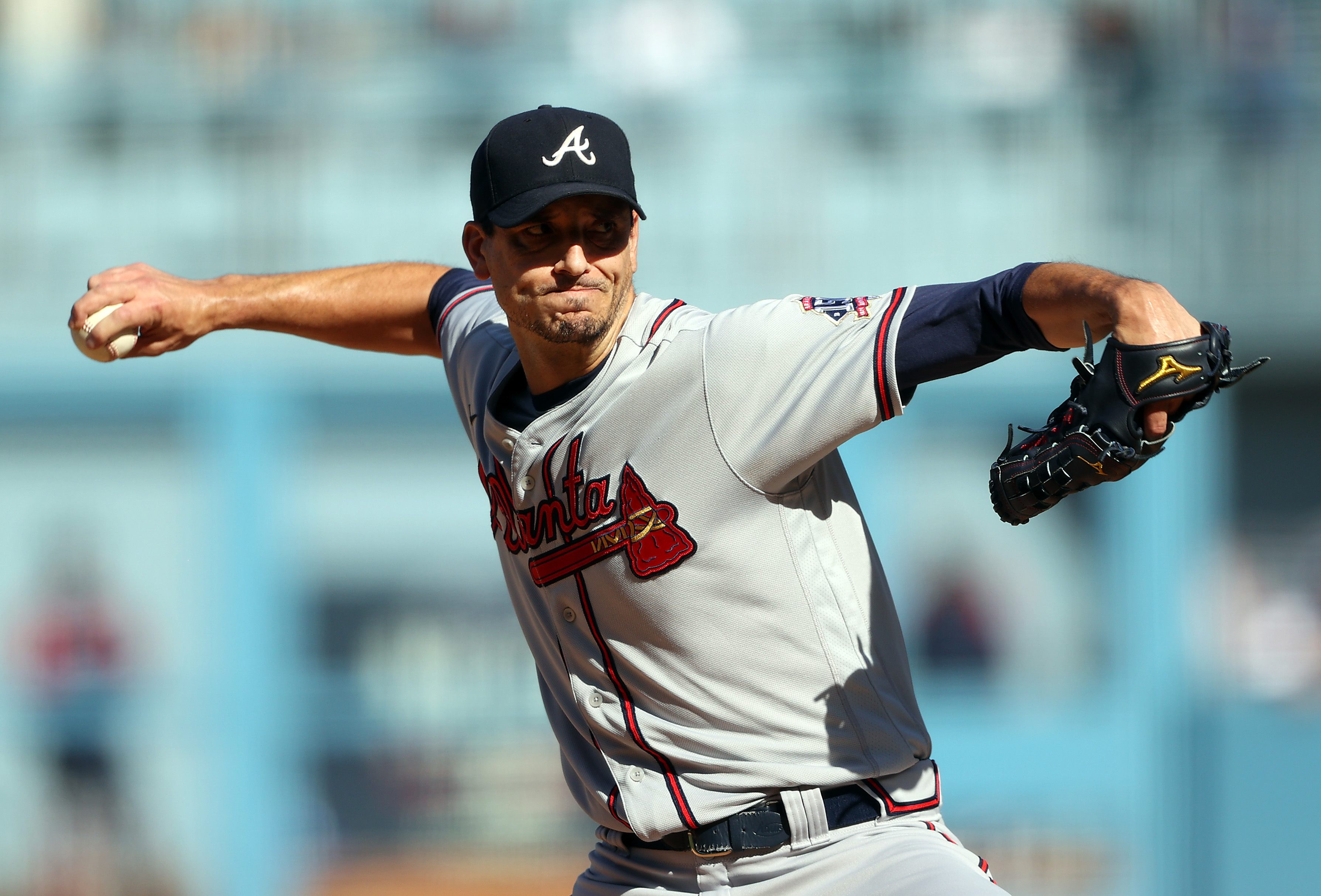 Starting pitcher Charlie Morton #50 of the Atlanta Braves pitches during the first inning of the National League Championship Series against the Los Angeles Dodgers at Dodger Stadium on October 19, 2021 in Los Angeles, California.