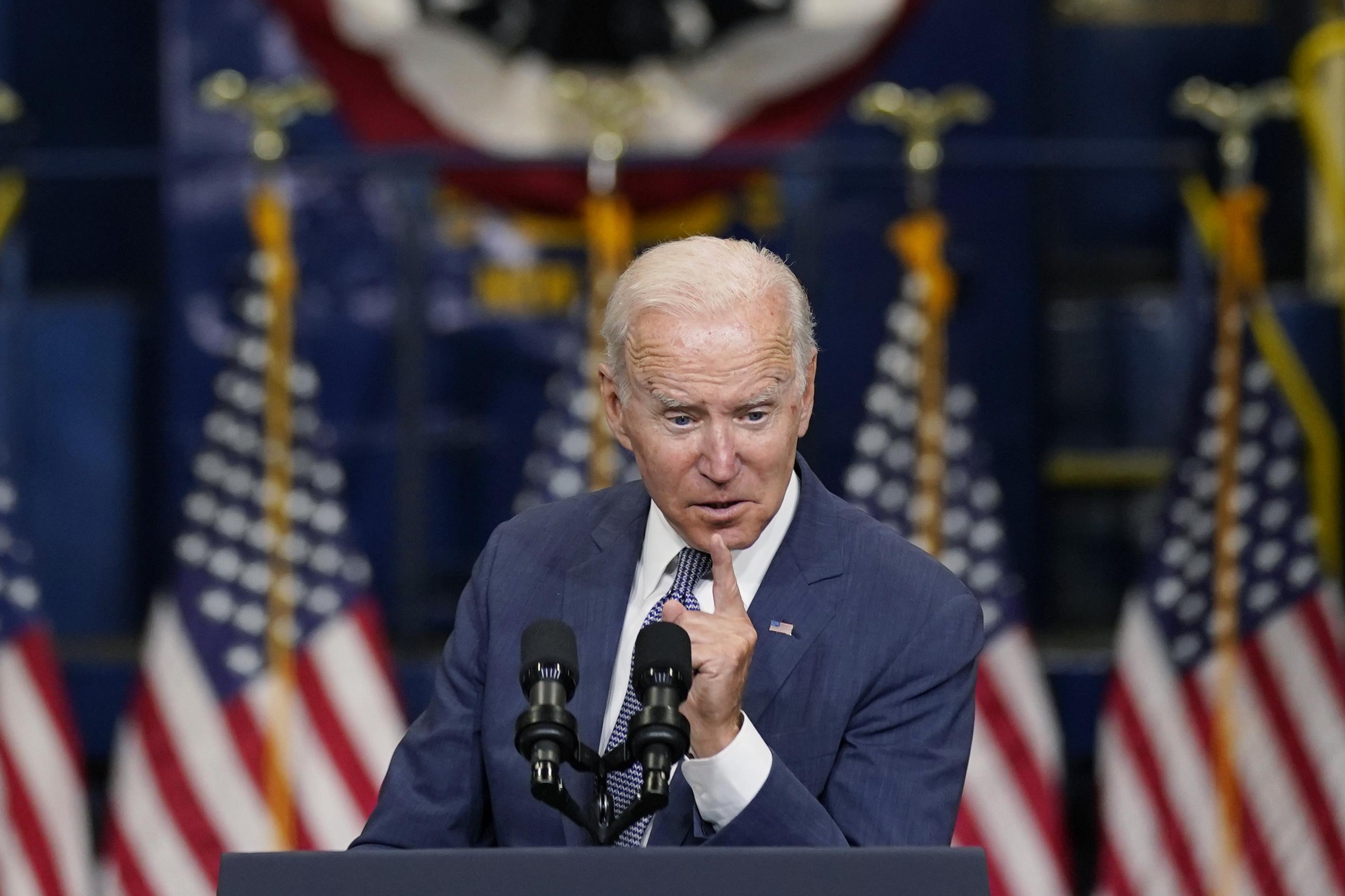 President Joe Biden delivers remarks at NJ Transit Meadowlands Maintenance Complex.