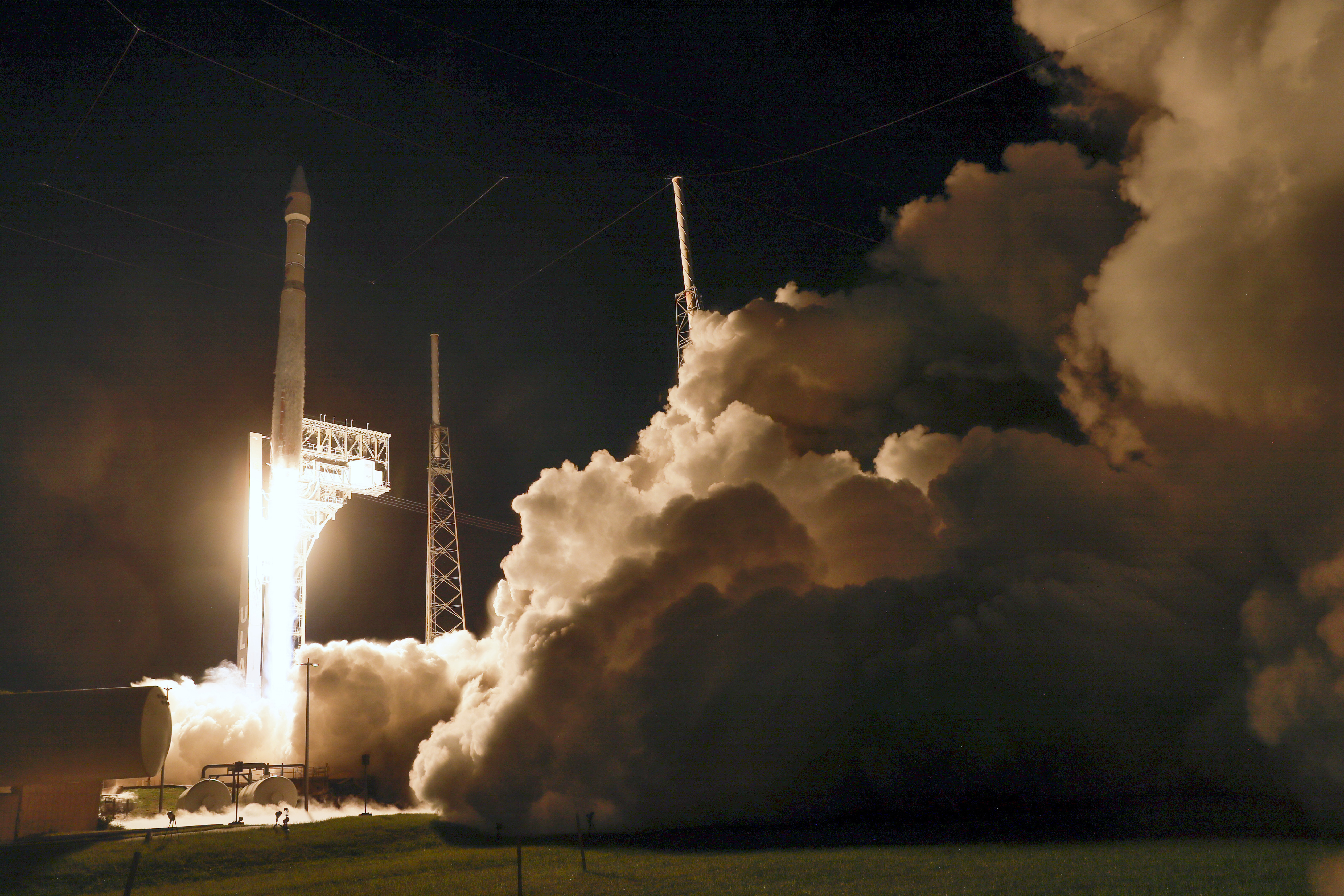 A United Launch Alliance Atlas V rocket carrying the Lucy spacecraft lifts off at the Cape Canaveral Space Force Station.