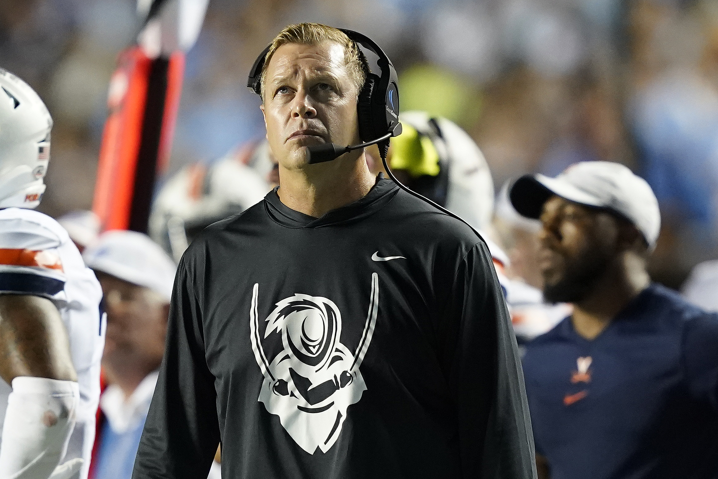 Virginia head coach Bronco Mendenhall looks on during game against North Carolina in Chapel Hill, N.C., Sept. 18, 2021.