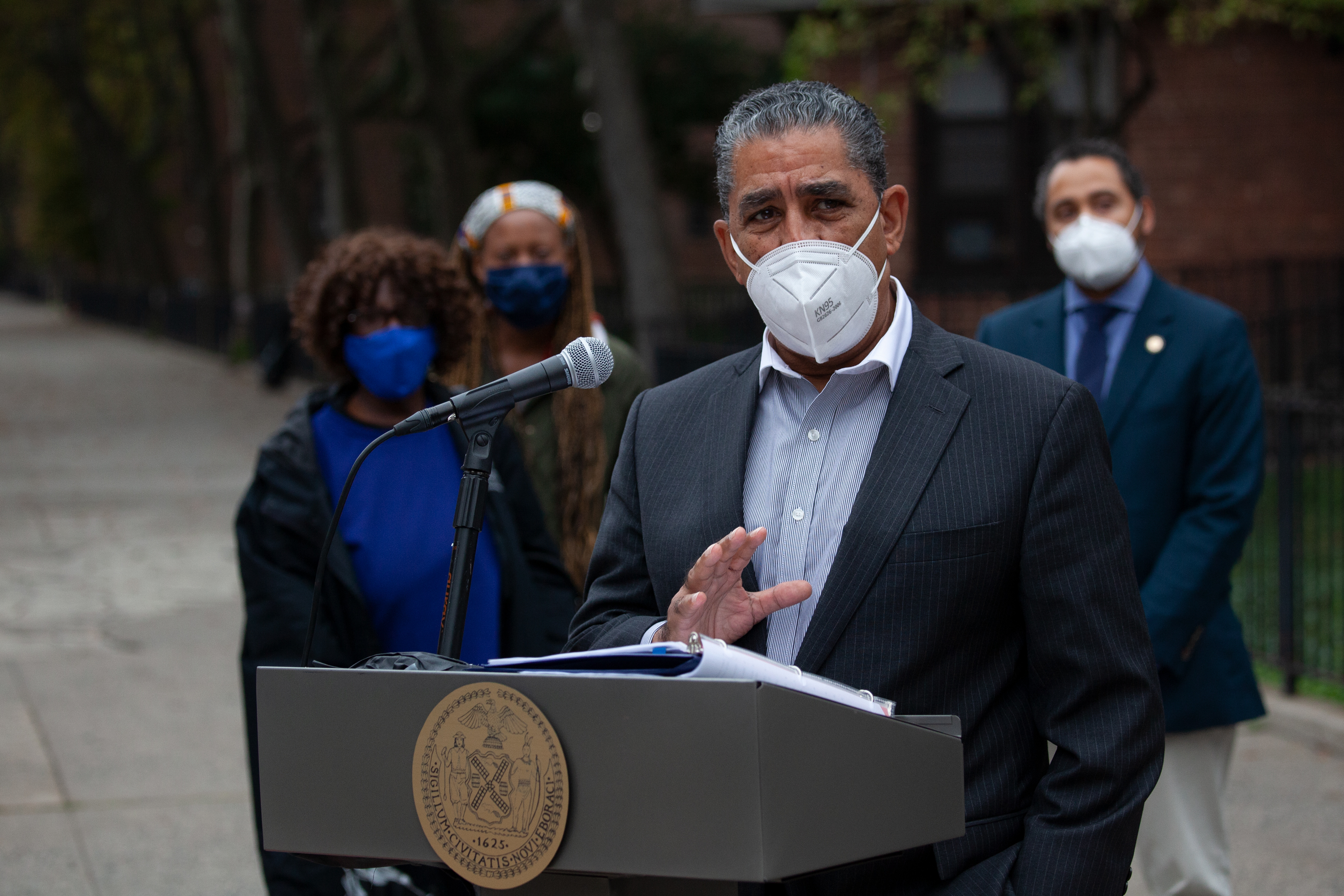 Congressional Rep. Adriano Espaillat speaks about funding for NYCHA outside the Martin Luther King Jr. Towers in Harlem. Oct. 26, 2020.