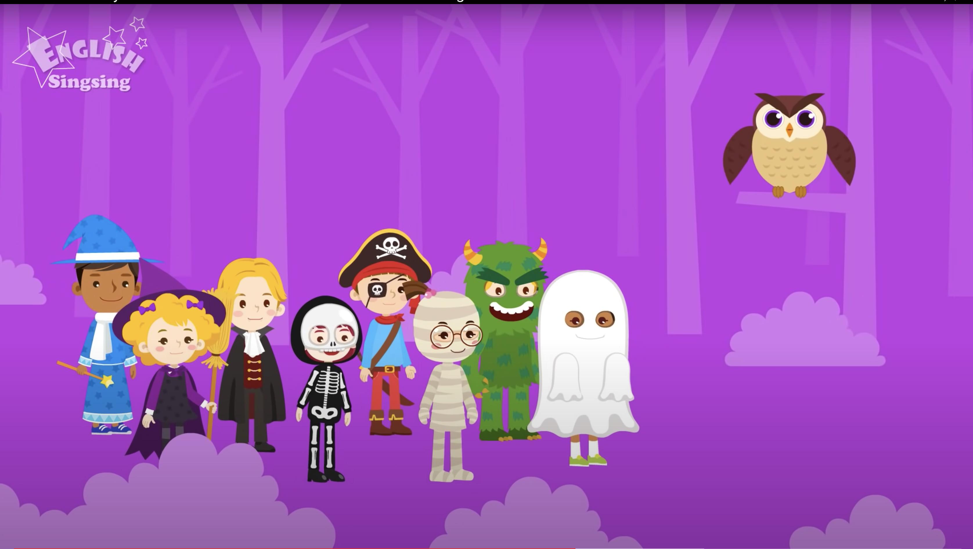 "Screenshot from English Singsing's ""Kids Vocabulary Halloween"" video."