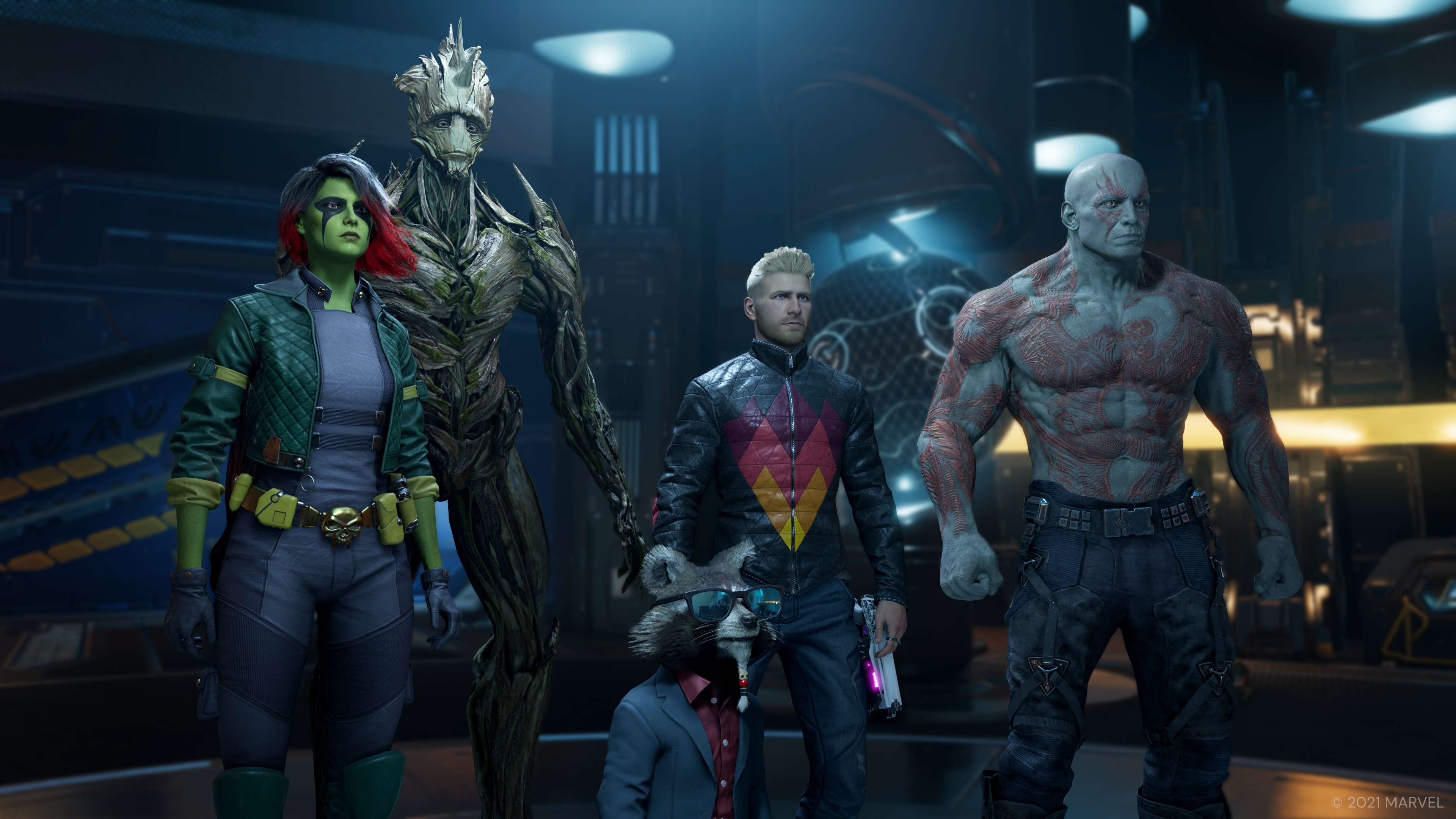 The Guardians of the Galaxy: Gamora, Groot, Rocket, Peter, and Drax