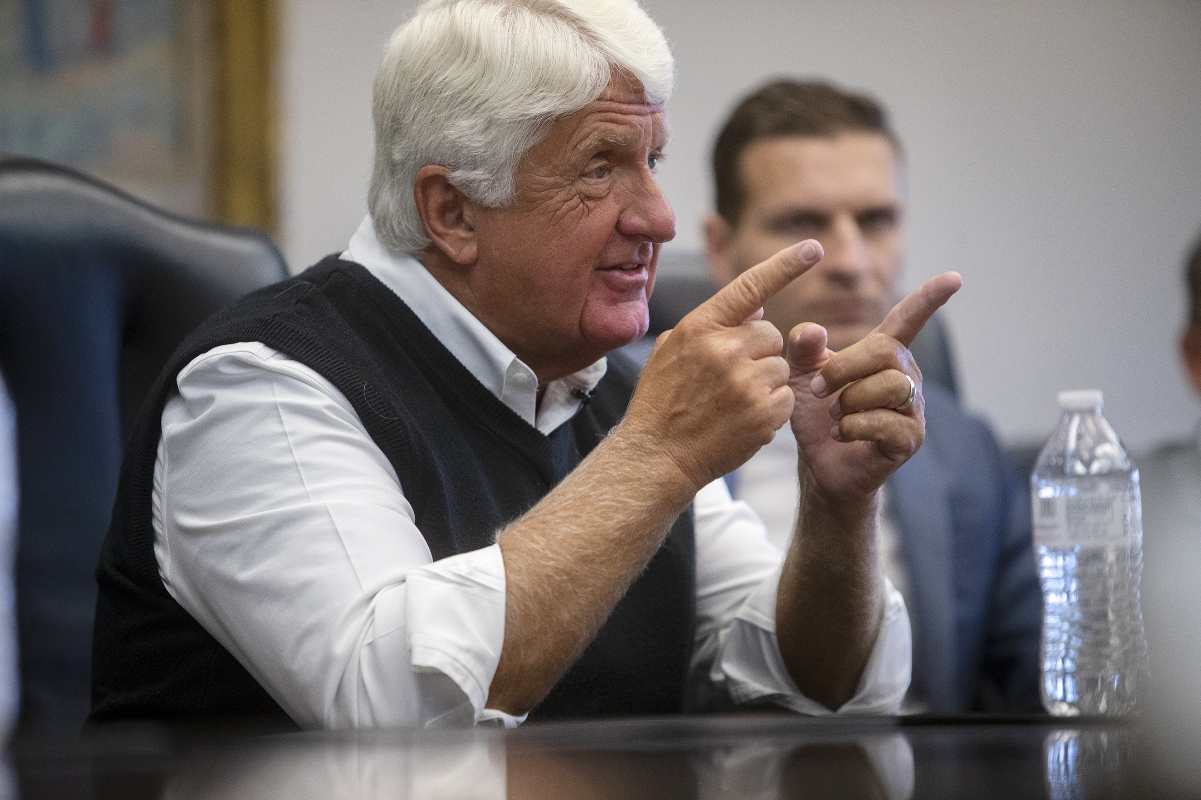 Rep. Rob Bishop talks with the Deseret News and KSL editorial boards in Salt Lake City in July 2019.