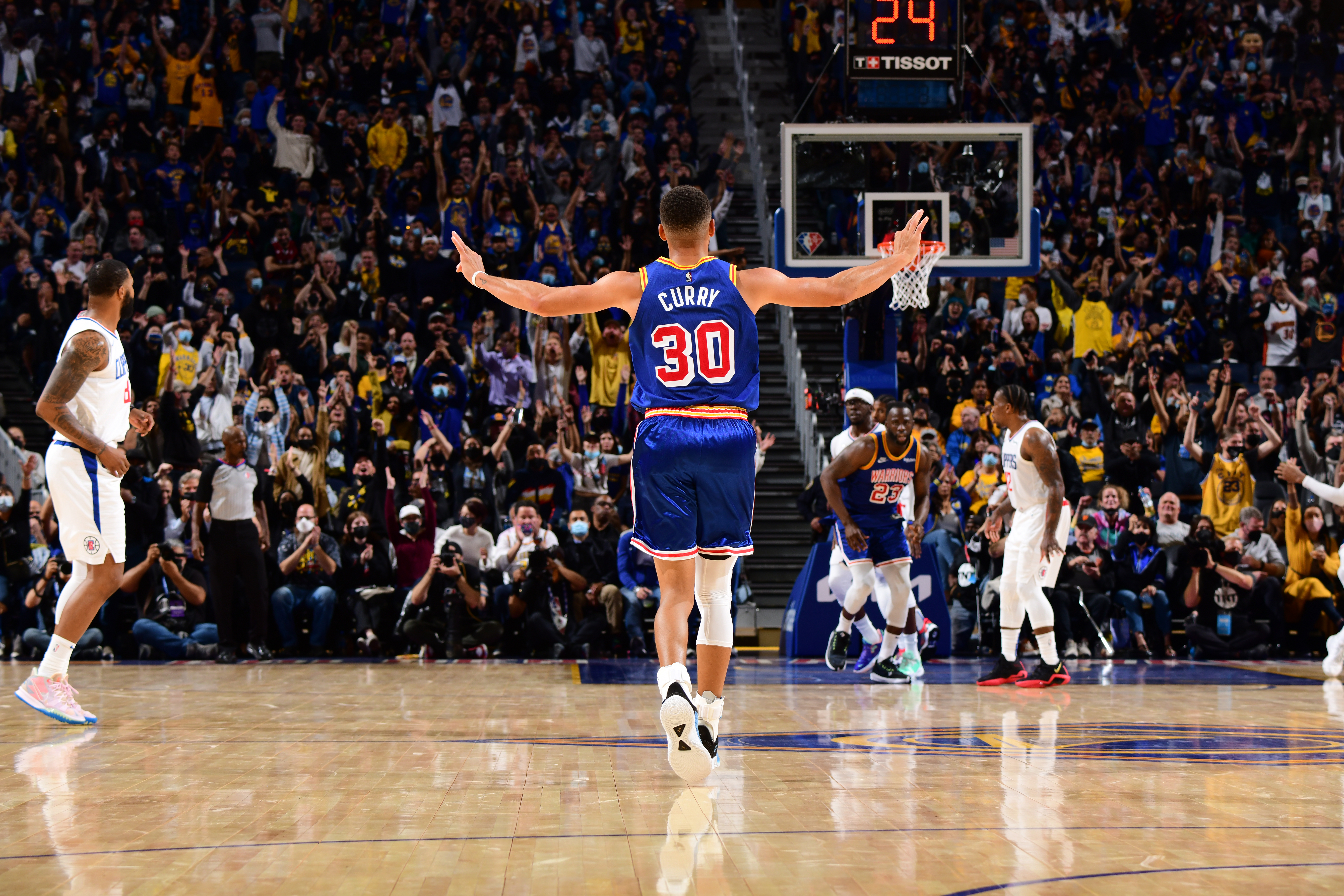 Stephen Curry #30 of the Golden State Warriors celebrates during the game against the LA Clippers on October 21, 2021 at Chase Center in San Francisco, California.