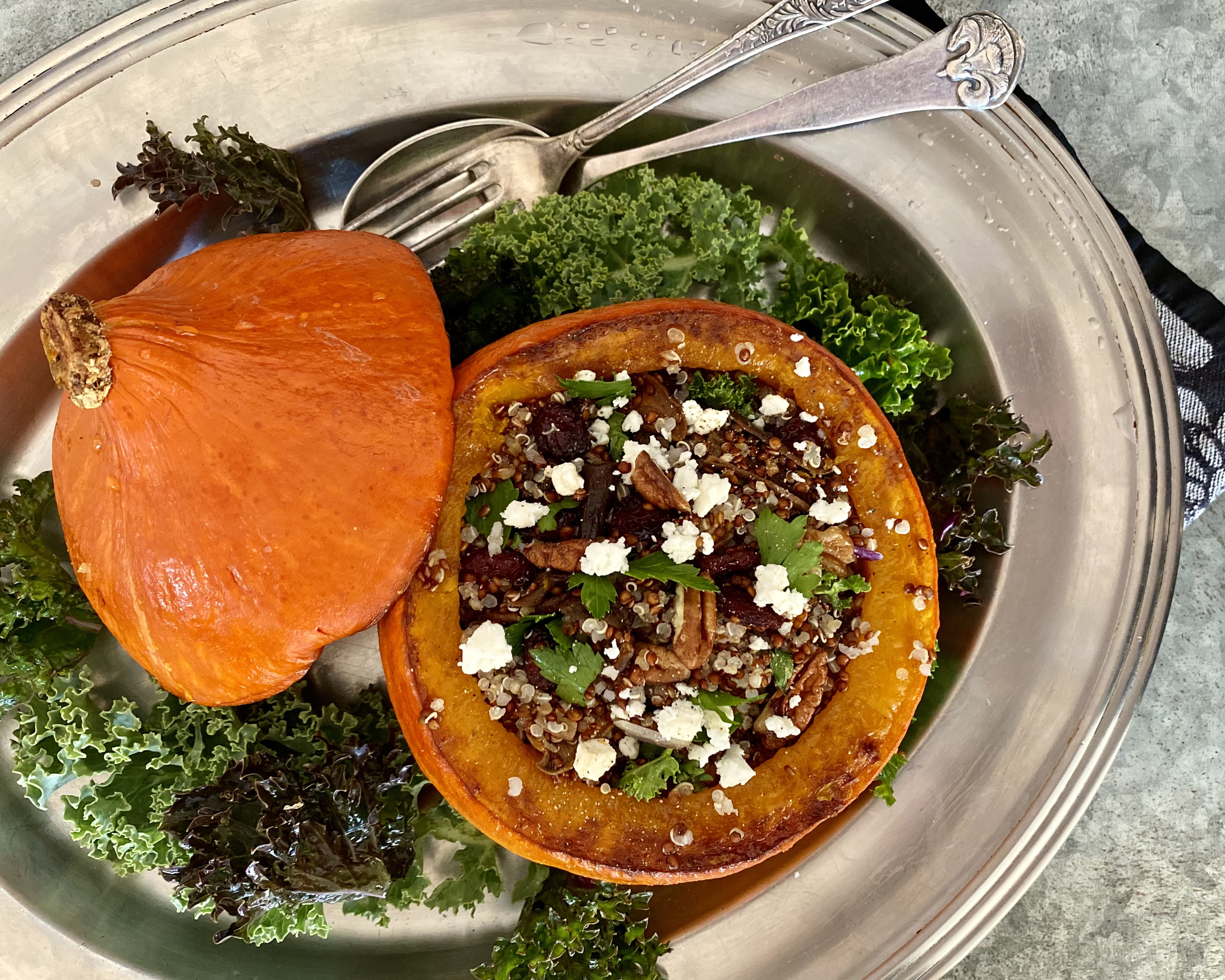There are a number of squashes that love to be stuffed, including butternut, acorn, sweet pumpkin and kabocha.