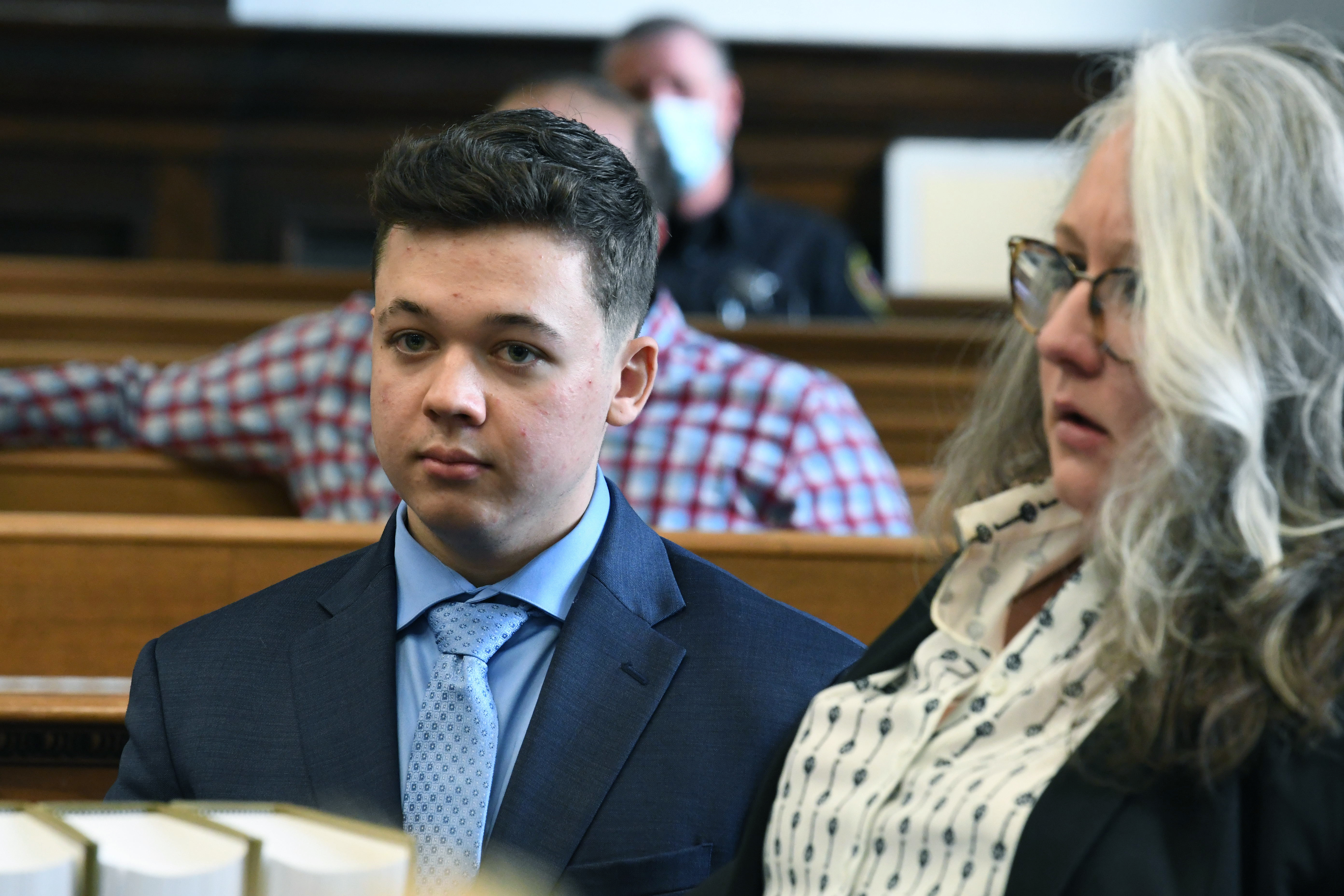 Kyle Rittenhouse attends a pre-trial hearing at the Kenosha County Courthouse in Kenosha, Wis., on Monday, Oct. 25, 2021.