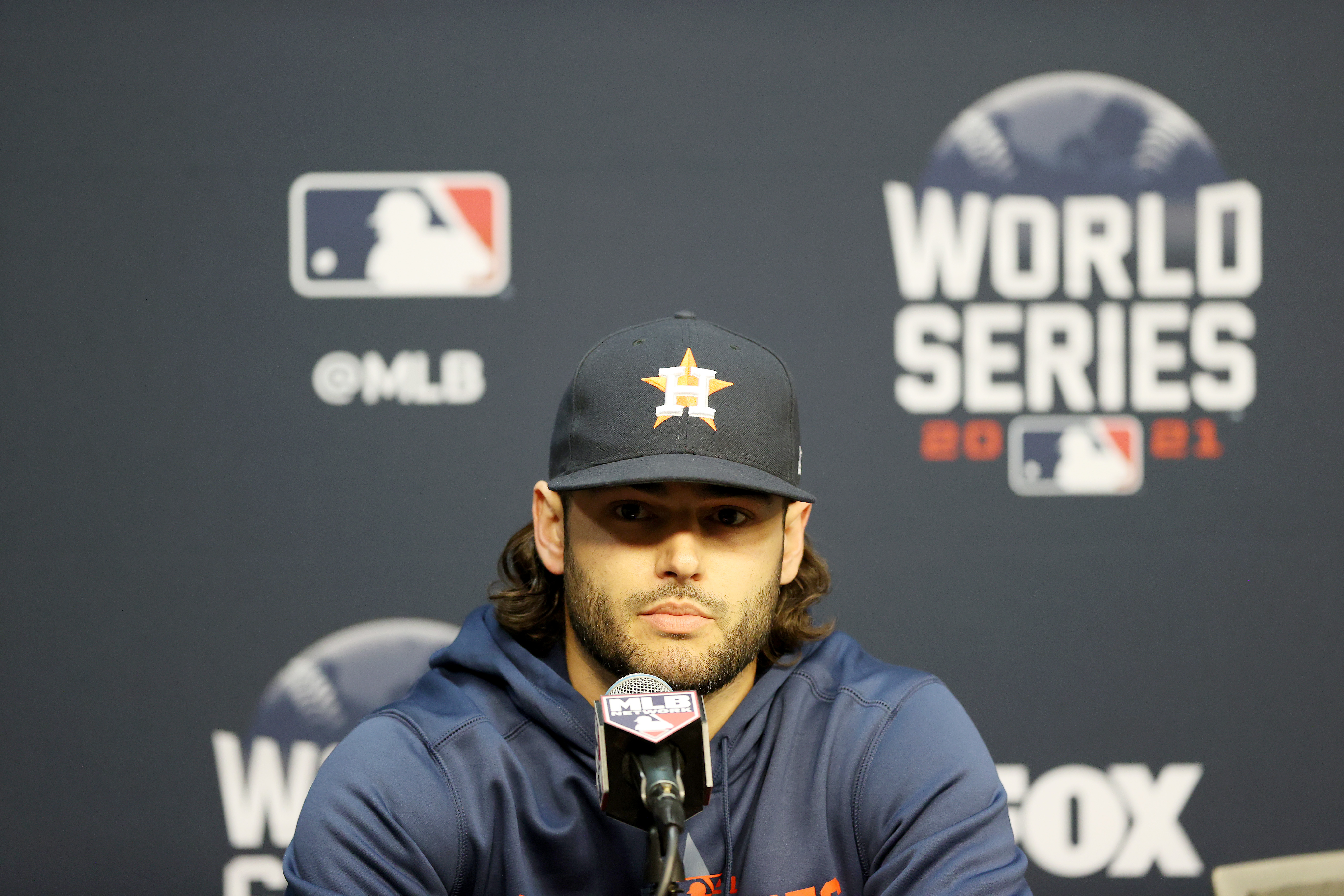 Lance McCullers Jr. of the Houston Astros answers questions during the World Series Workout Day at Minute Maid Park on October 25, 2021 in Houston, Texas.McCullers Jr. is out for the World Series due to injury.