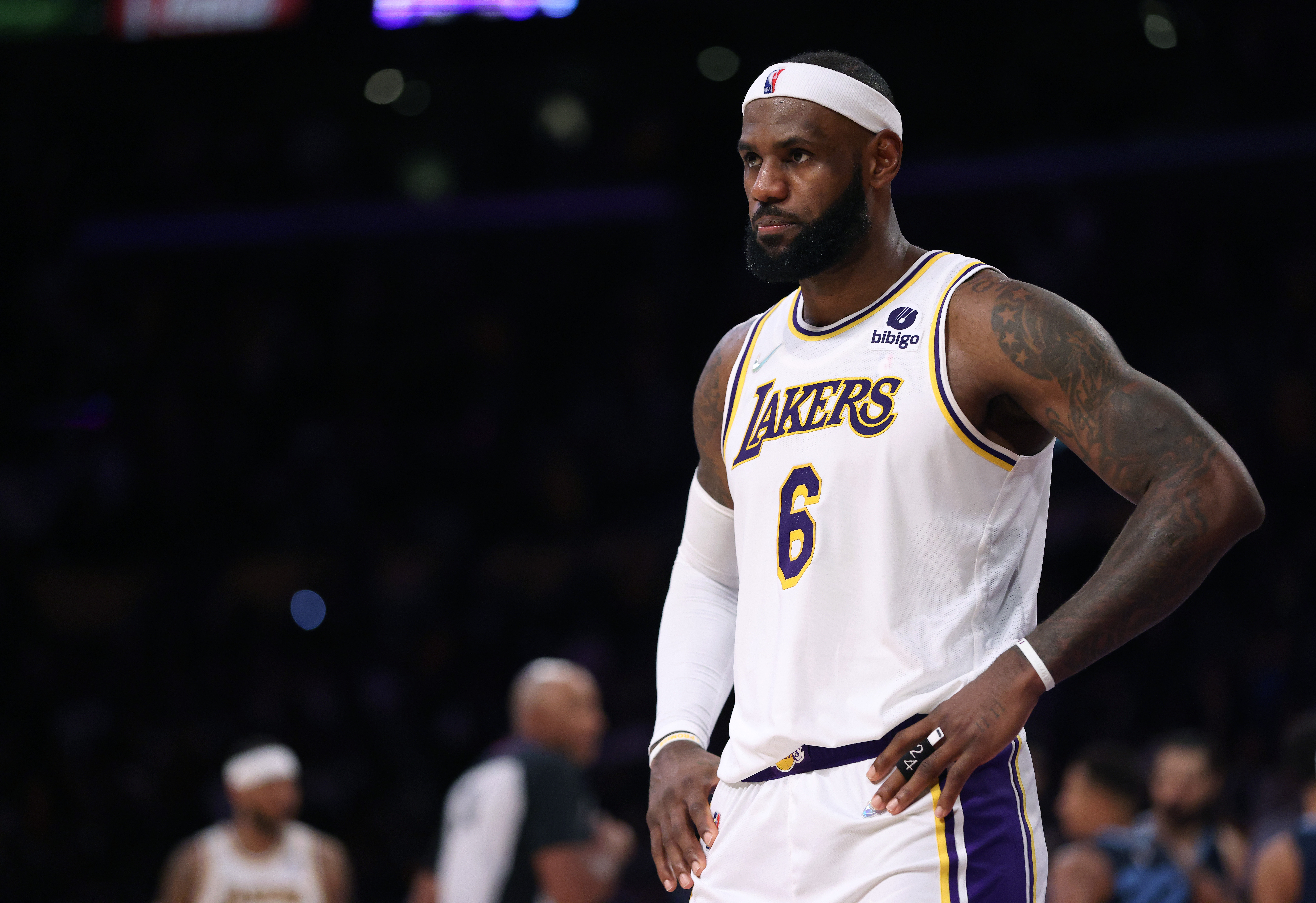 LeBron James #6 of the Los Angeles Lakers reacts to a call during a 121-118 win over the Memphis Grizzlies at Staples Center on October 24, 2021 in Los Angeles, California.