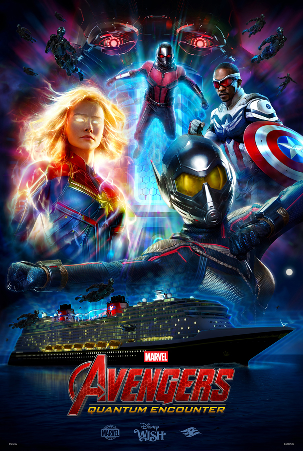 The poster for Disney Wish's Avengers: Quantum Encounter show