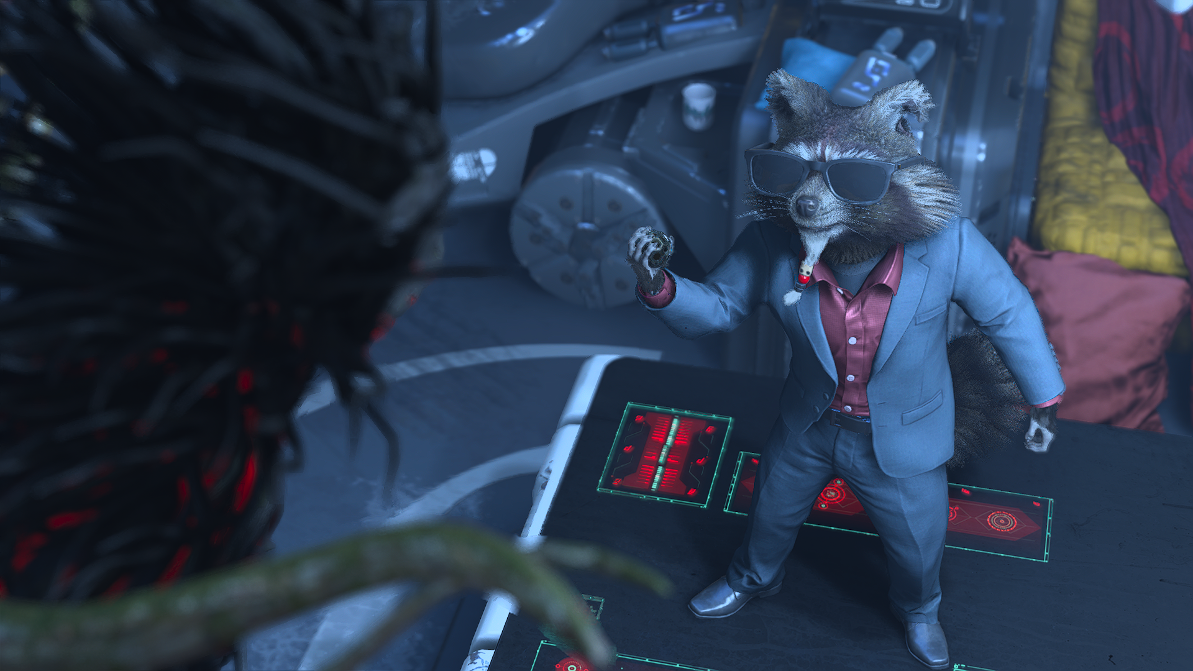 Rocket from Marvel's Guardians of the Galaxy in a suit