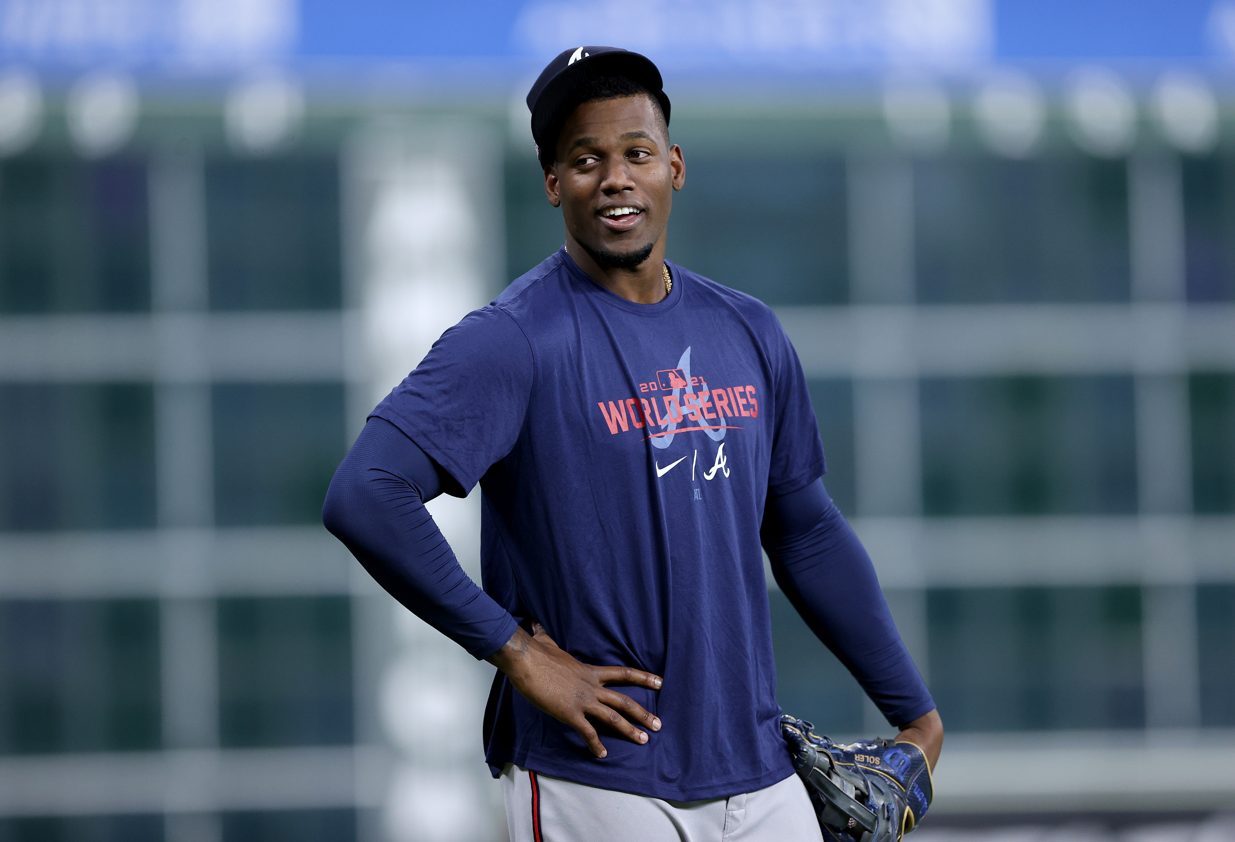 Jorge Soler #12 of the Atlanta Braves warms up during the World Series Workout Day at Minute Maid Park on October 25, 2021 in Houston, Texas.