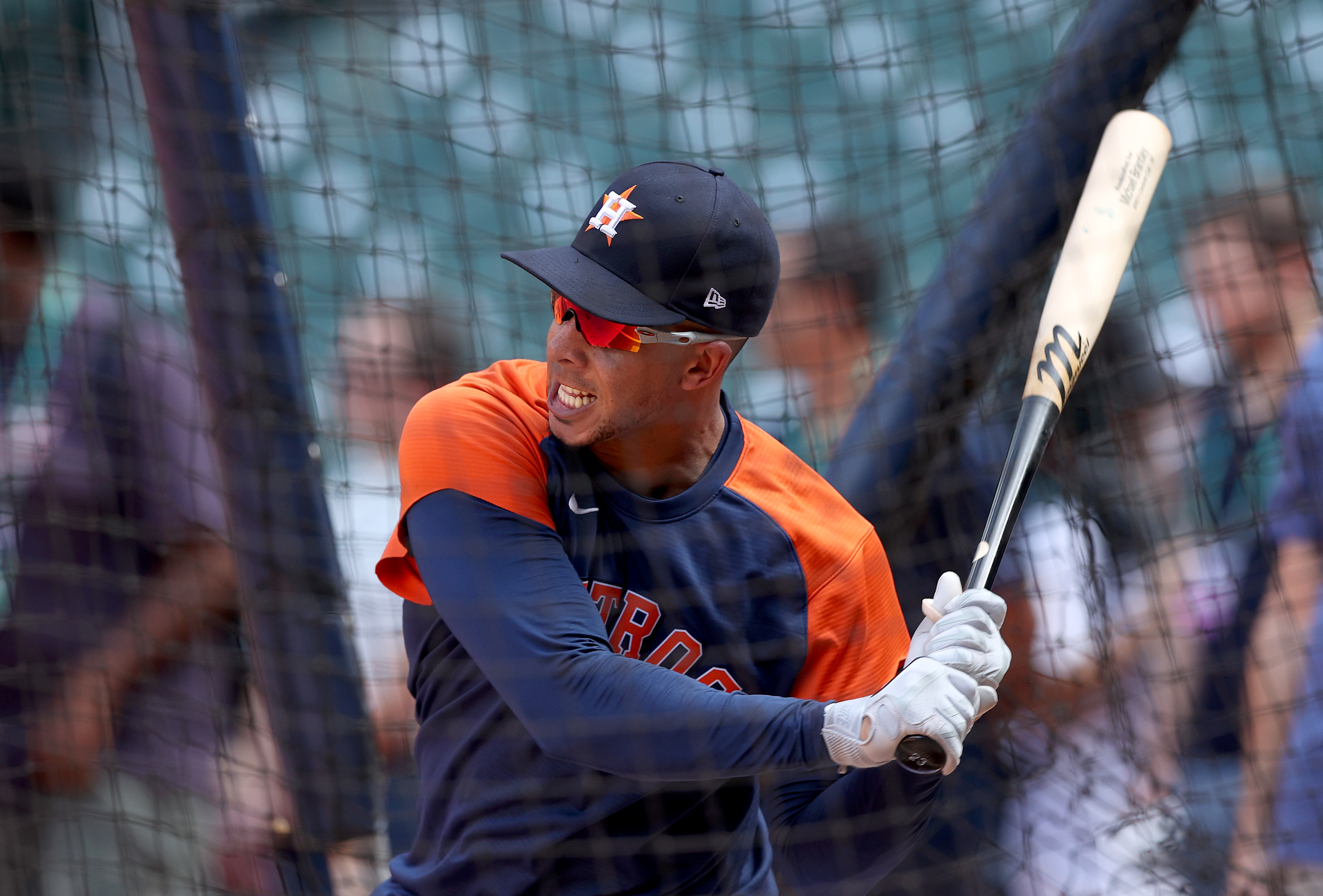 Michael Brantley #23 of the Houston Astros hits during the World Series Workout Day at Minute Maid Park on October 25, 2021 in Houston, Texas.