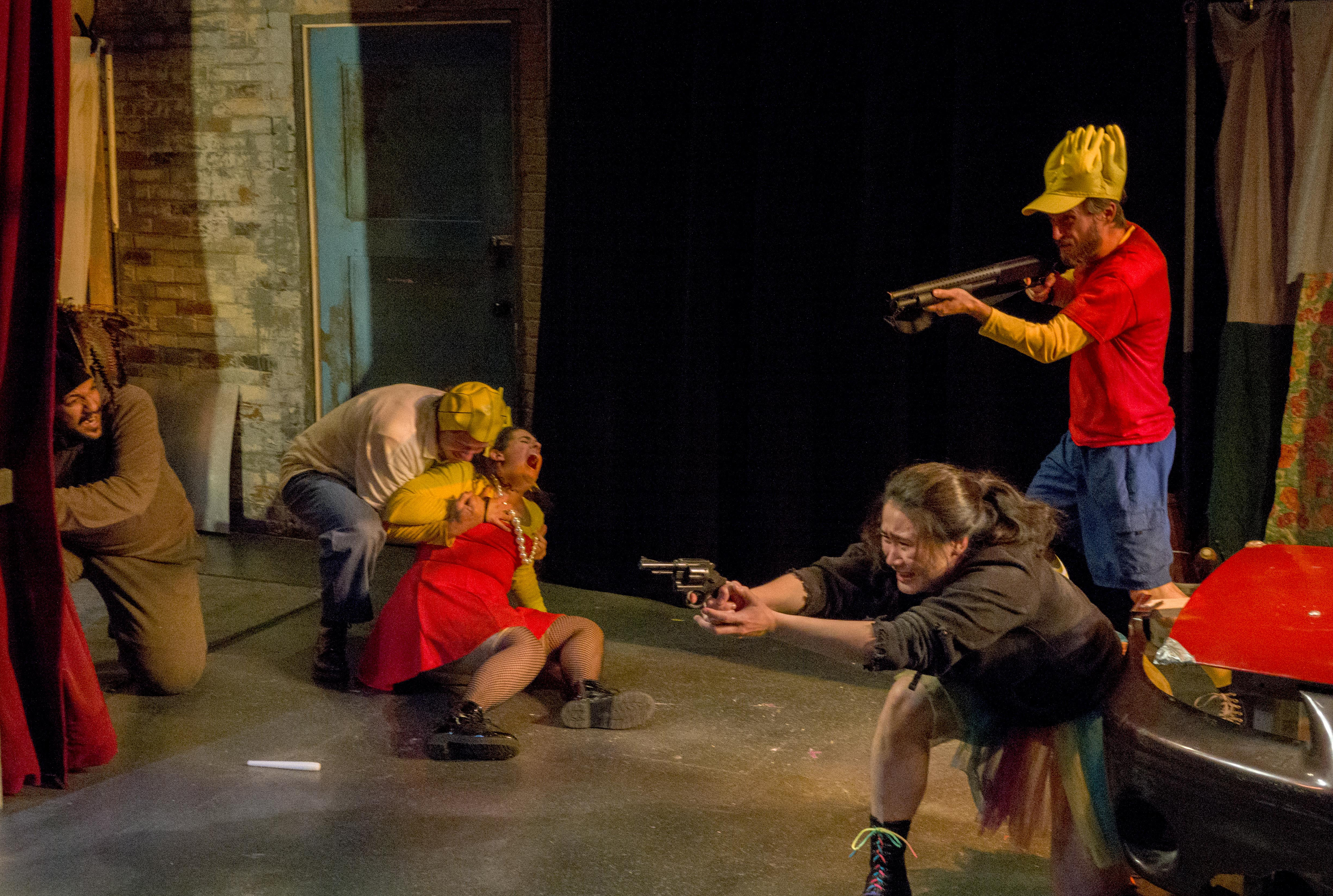 """The cast of Theater Wit's production of """"Mr. Burns, a post electric play"""" has been trained in the safe use of the """"many, many guns"""" utilized in the production."""
