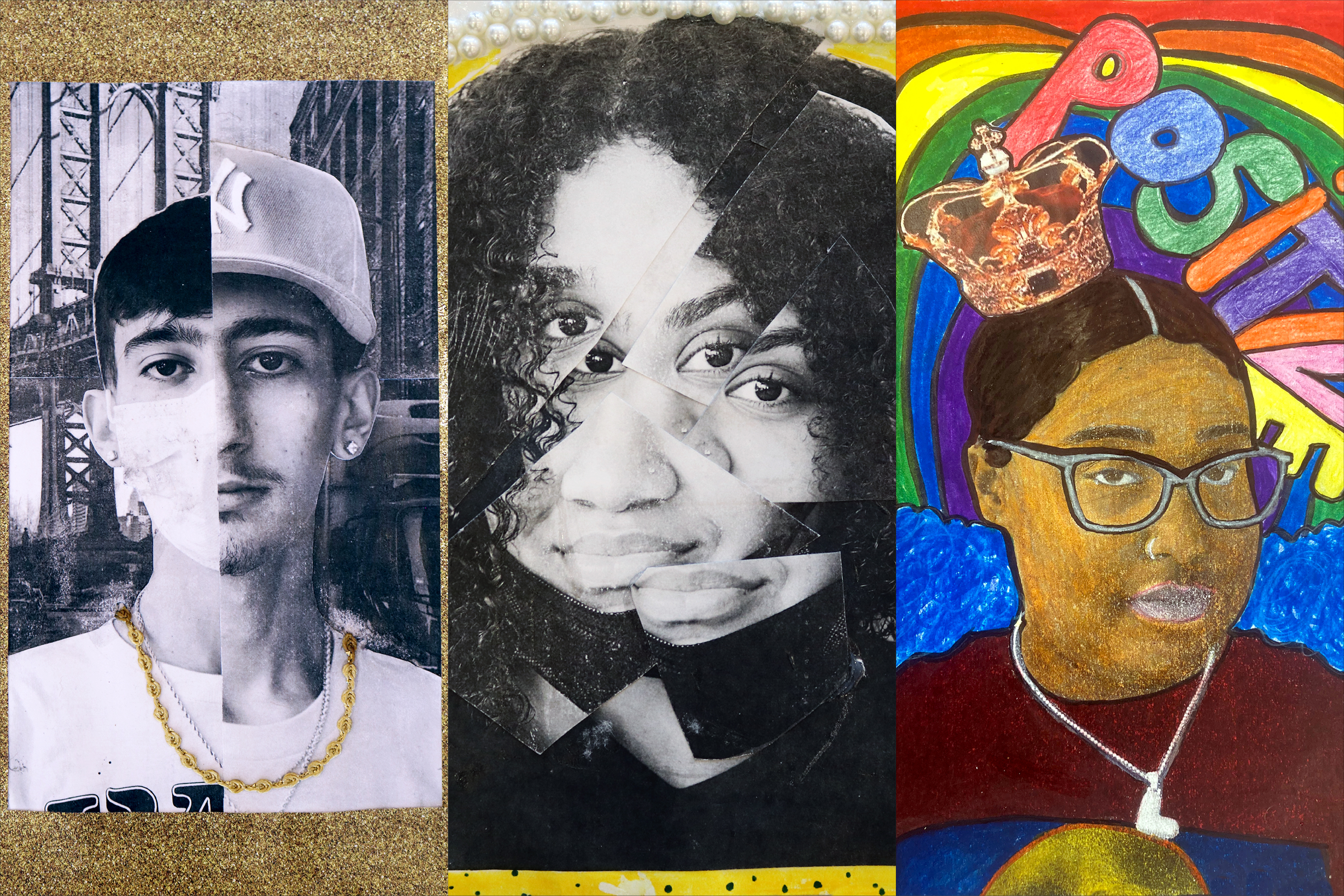 A triptych of three colorful self-portraits, made by students of Voyages Prep in Elmhurst, Queens.