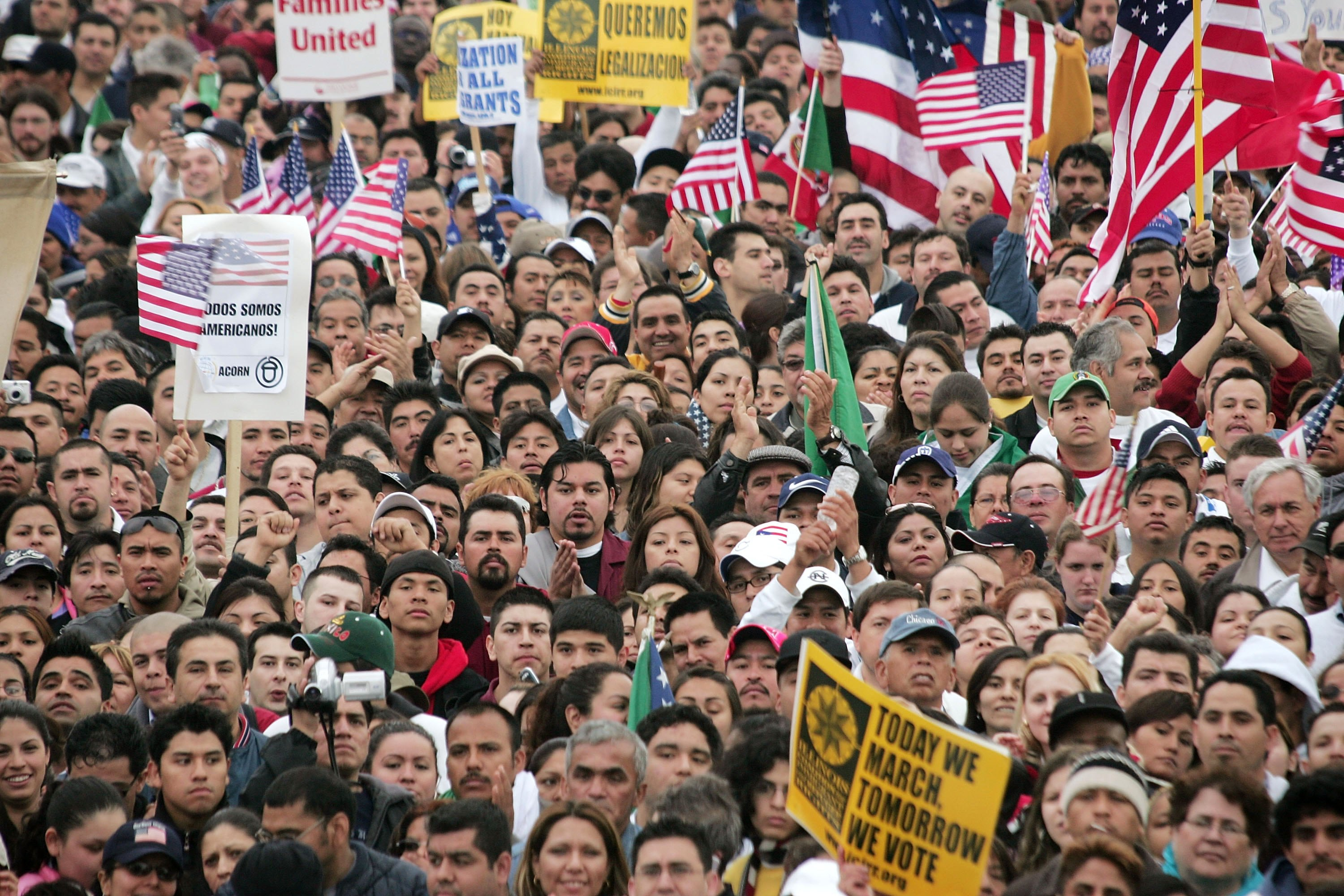 Immigrant rights supporters rally in Grant Park following a march through downtown May 1, 2006 in Chicago. Immigrants and their supporters around the nation are rallying together through marches and demonstrations, along with boycotting work and spending, in a consolidated effort to show their importance throughout American society as the ongoing political debate on immigration reform continues.