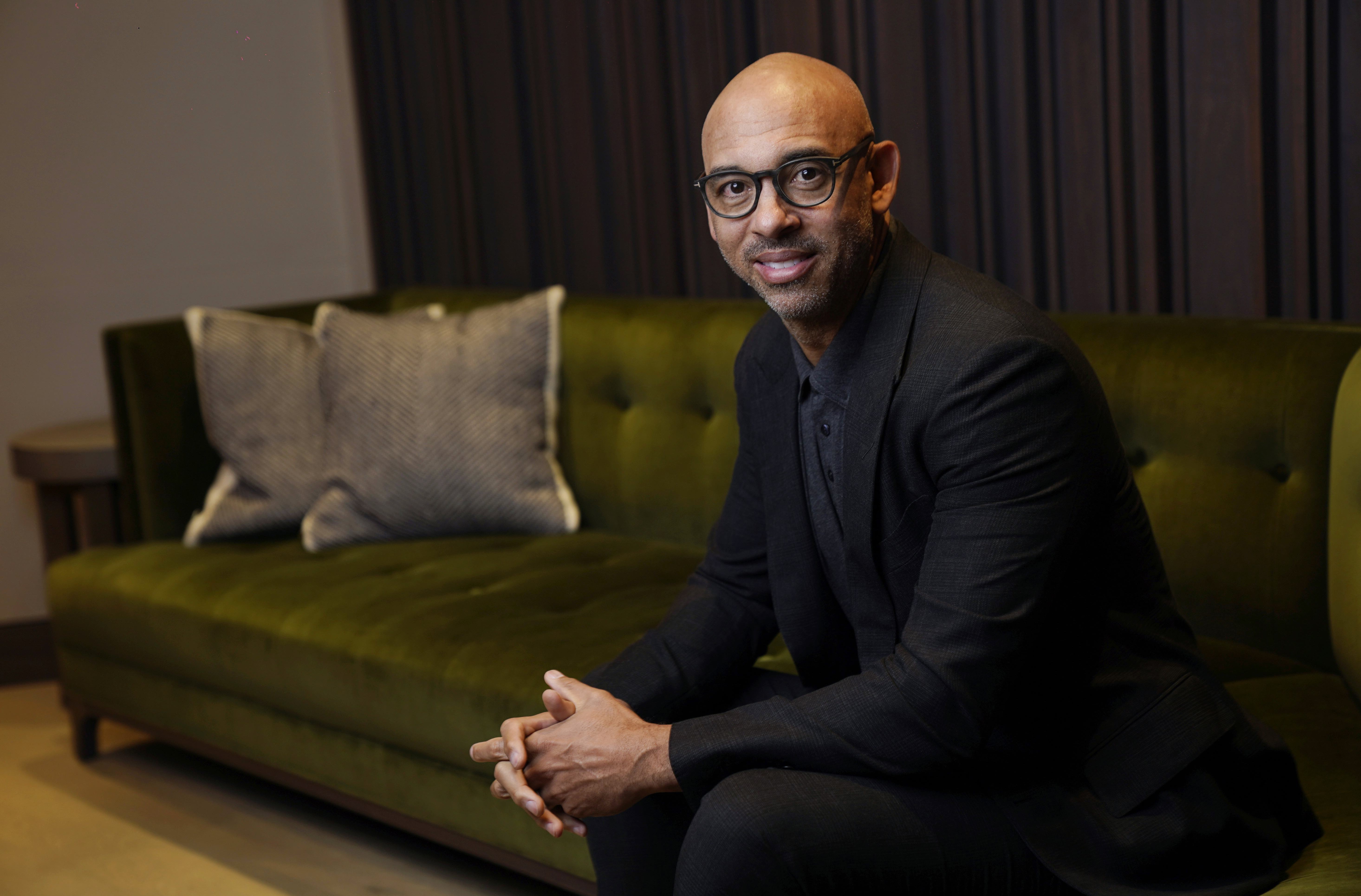 Harvey Mason jr., CEO of The Recording Academy, poses for a portrait at Harvey Mason Media music production studios earlier this month in Burbank, California.