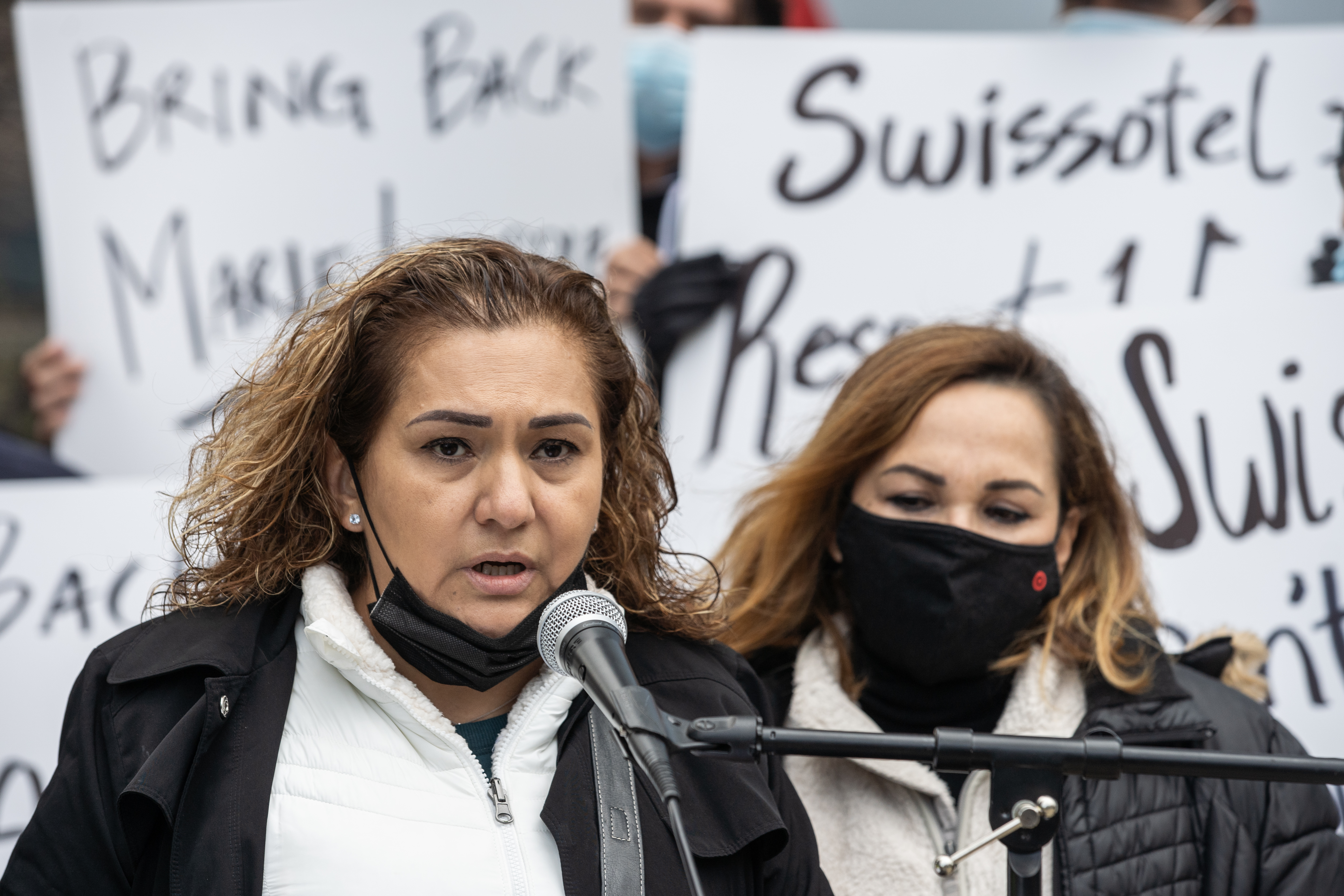 Former Swissotel employee Maria Ruiz speaks during a press conference outside the Swissotel, 323 E. Wacker Dr. in the Near East Side neighborhood, Tuesday afternoon, October 26, 2021.