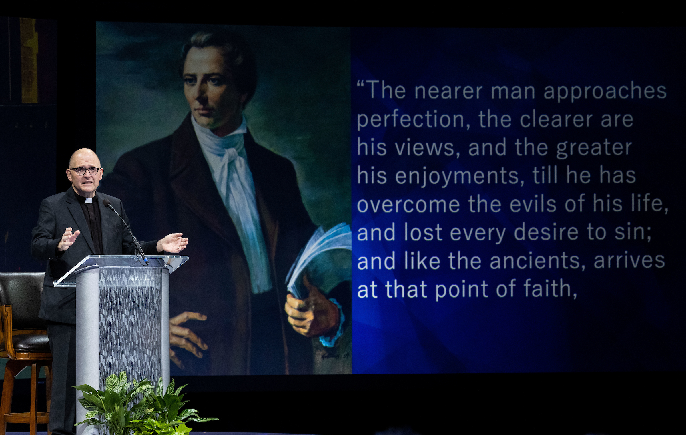 The Rev. Dr. Andrew Teal delivers a forum address at Brigham Young University in Provo, Utah.