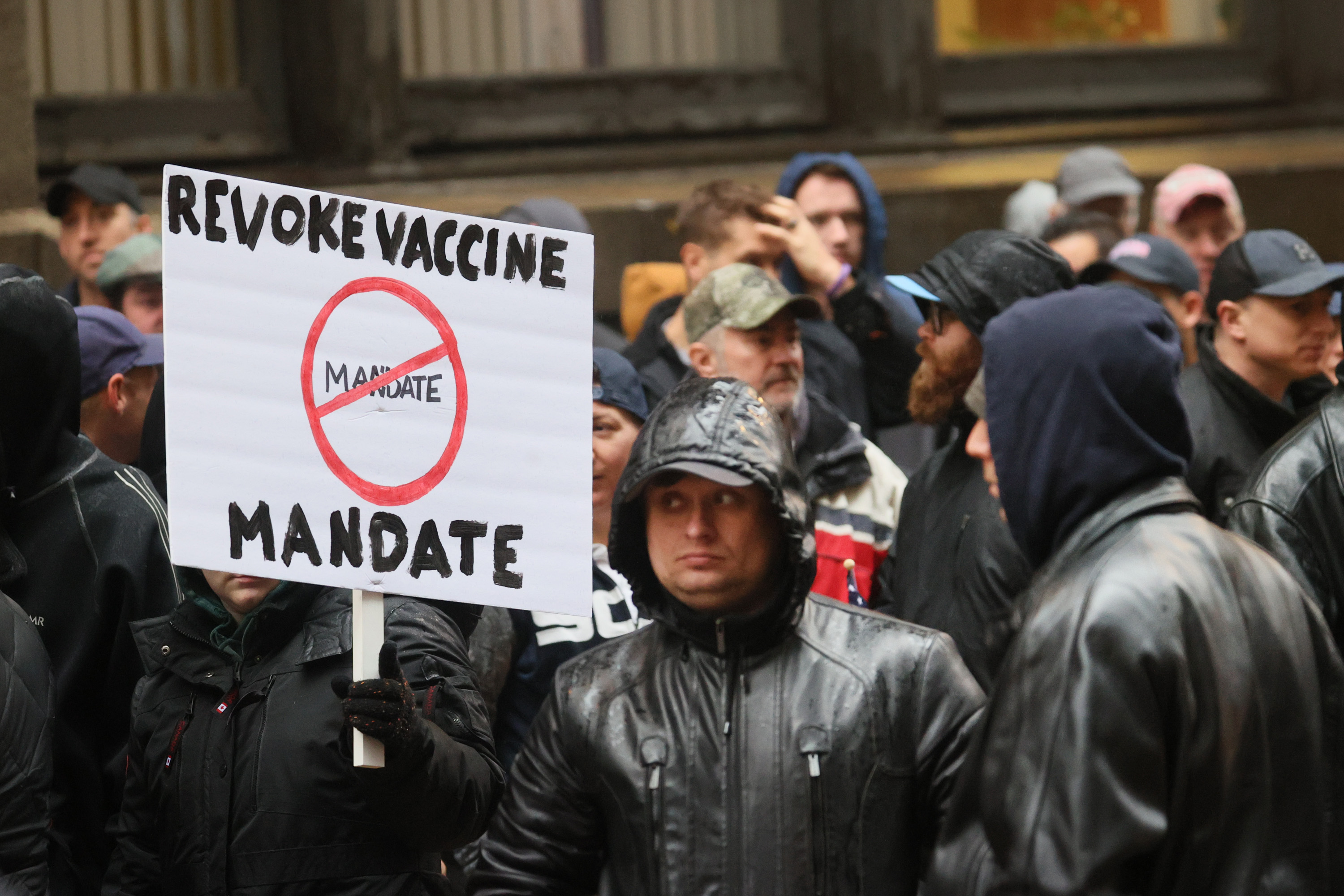 Chicago Cops And City Workers Protest Vaccine Mandates Outside City Hall
