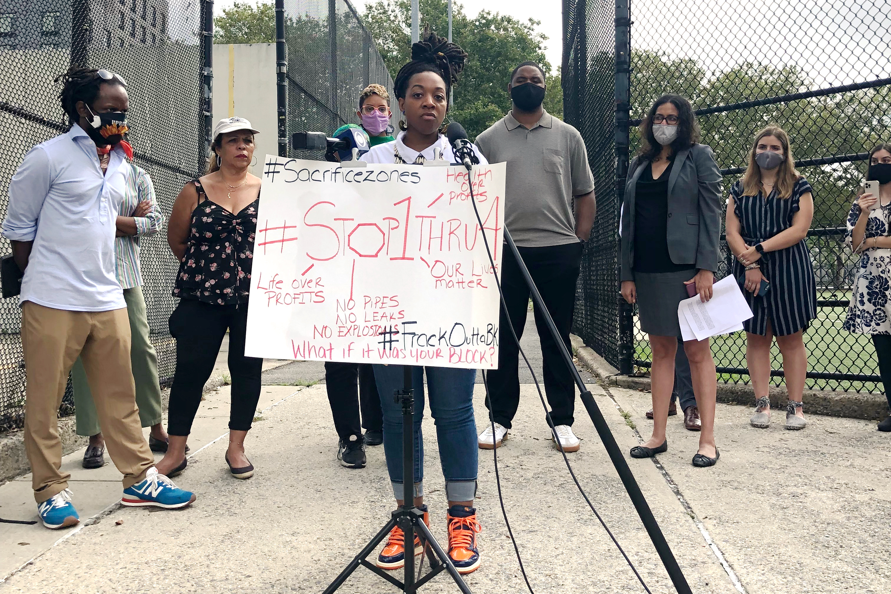 Residents and lawyers representing Brooklyn community groups call for investigations into the Metropolitan Reliability Infrastructure project, a gas pipeline that's snaking through Brownsville, Ocean Hill, Bushwick and East Williamsburg.