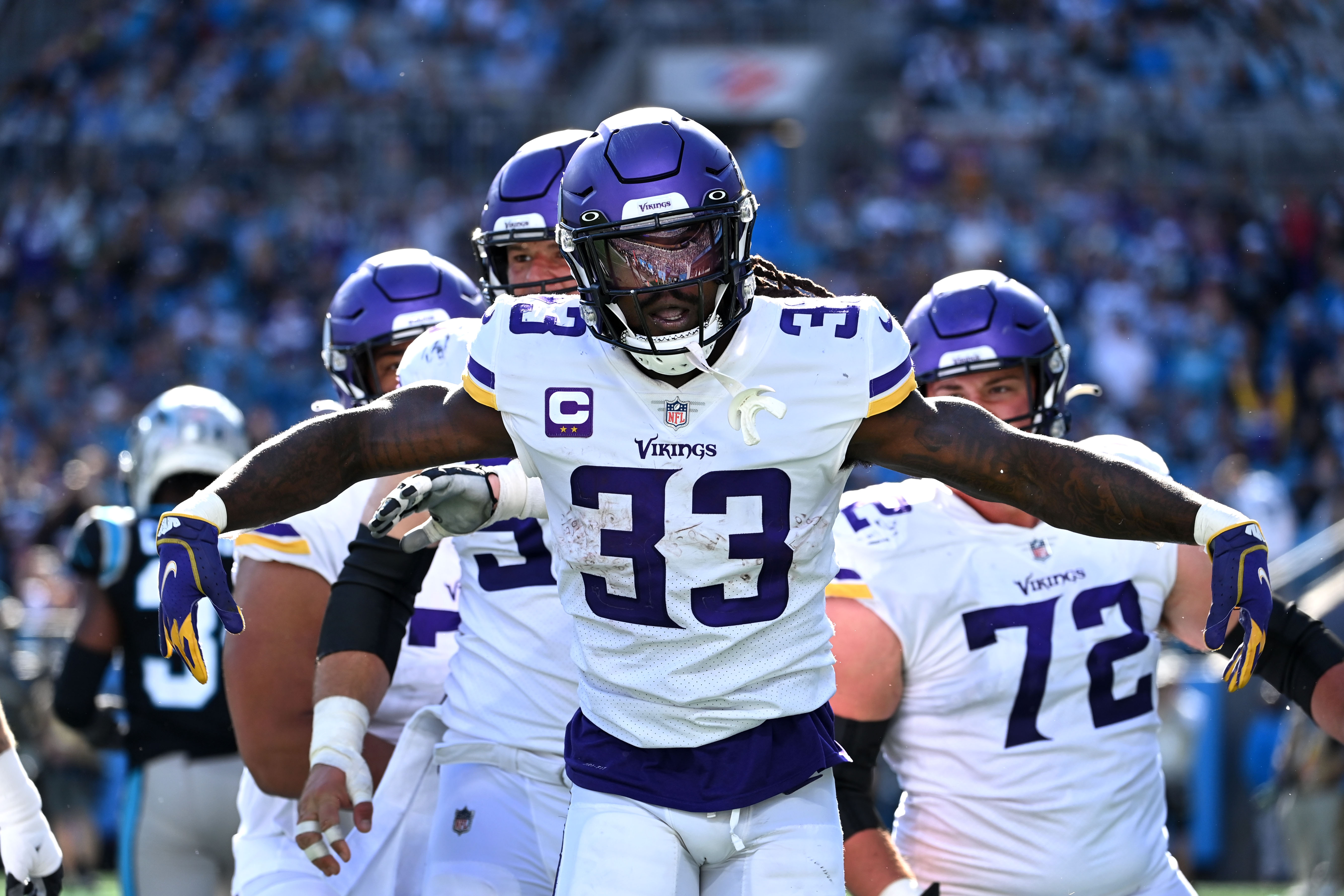 Minnesota Vikings running back Dalvin Cook (33) reacts after scoring a touchdown in the third quarter at Bank of America Stadium.
