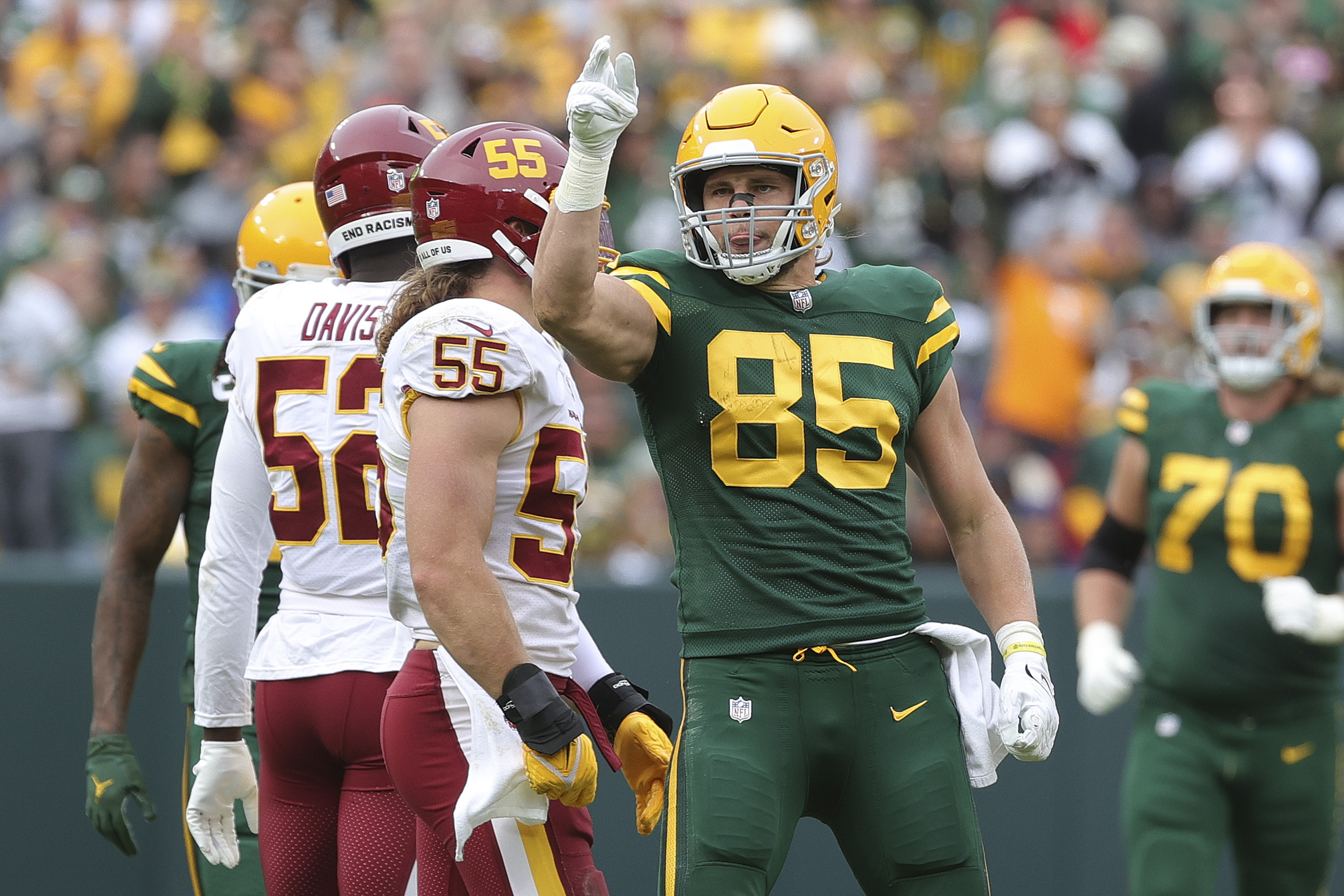 Robert Tonyan #85 of the Green Bay Packers reacts in the fourth quarter against the Washington Football Team in the game at Lambeau Field on October 24, 2021 in Green Bay, Wisconsin.