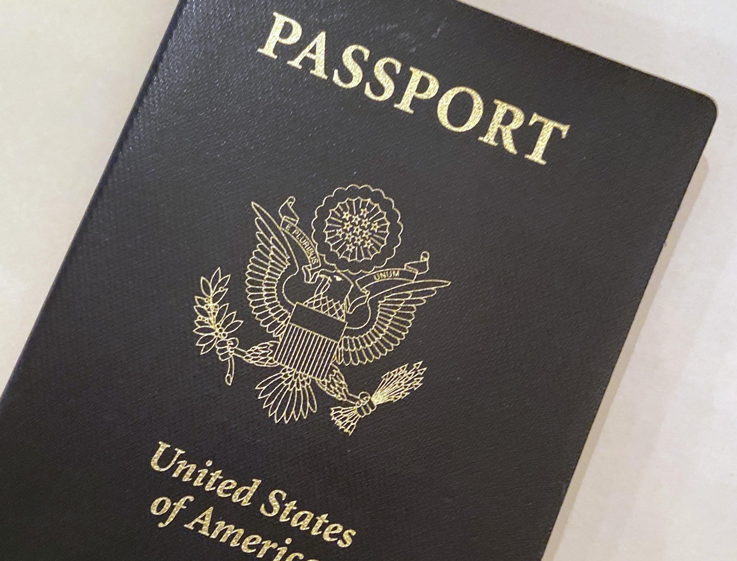 file photo shows a U.S. Passport cover in Washington.
