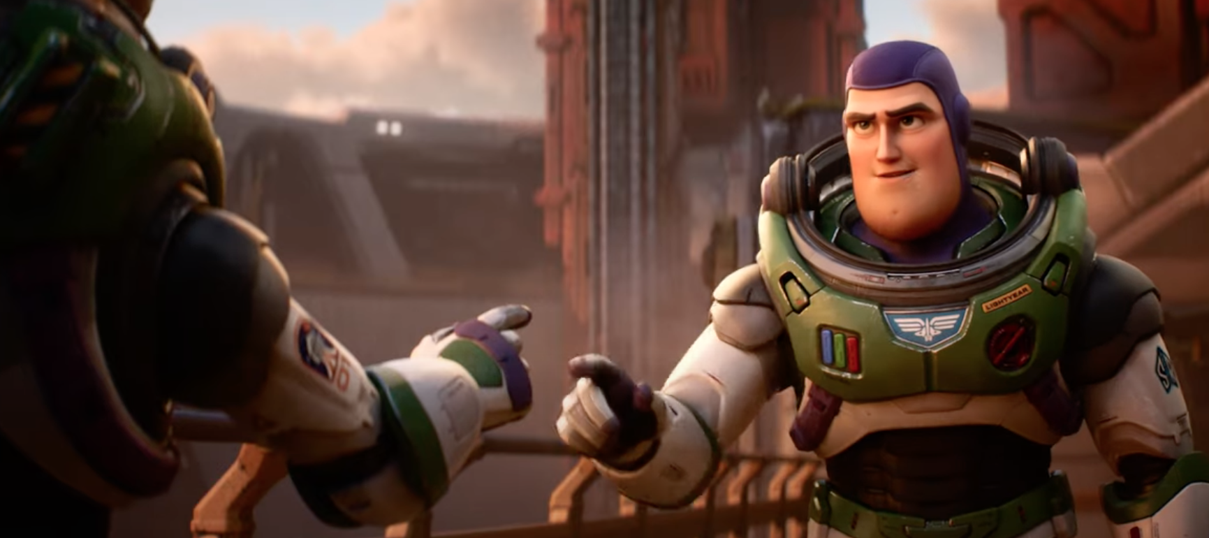 buzz lightyear in his green and white suit