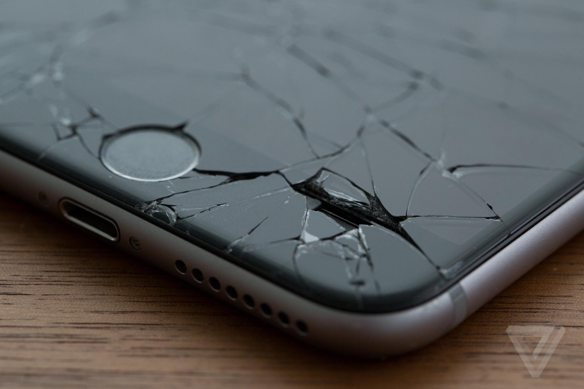 Broken cracked iphone stock