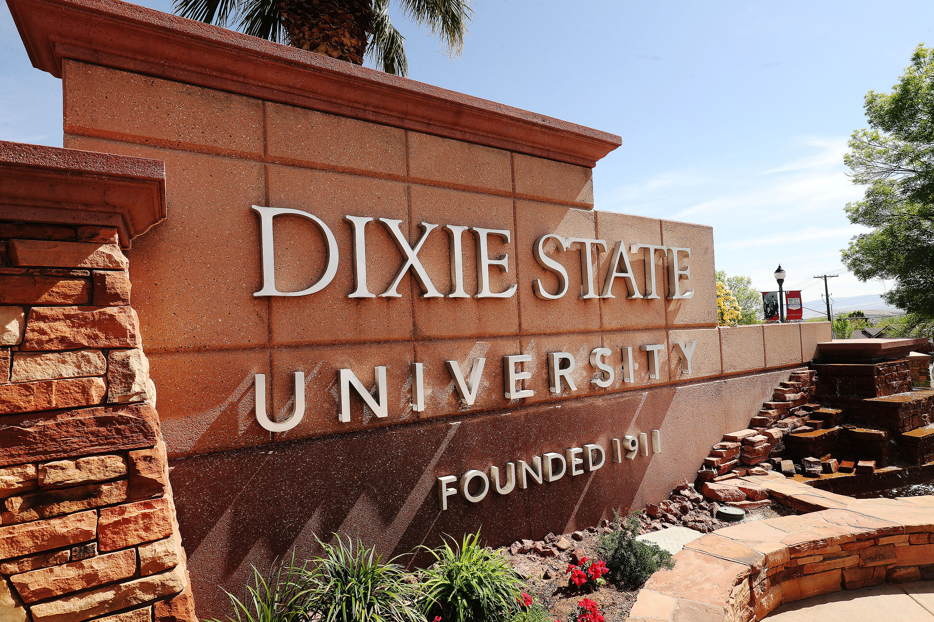 A sign for Dixie State University in St. George is pictured on Friday, April 9, 2021.