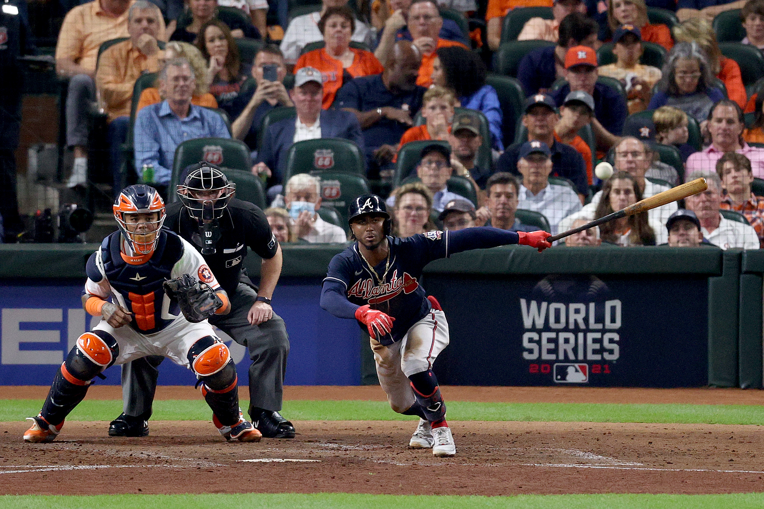 Ozzie Albies #1 of the Atlanta Braves hits a single against the Houston Astros during the second inning in Game One of the World Series at Minute Maid Park on October 26, 2021 in Houston, Texas.