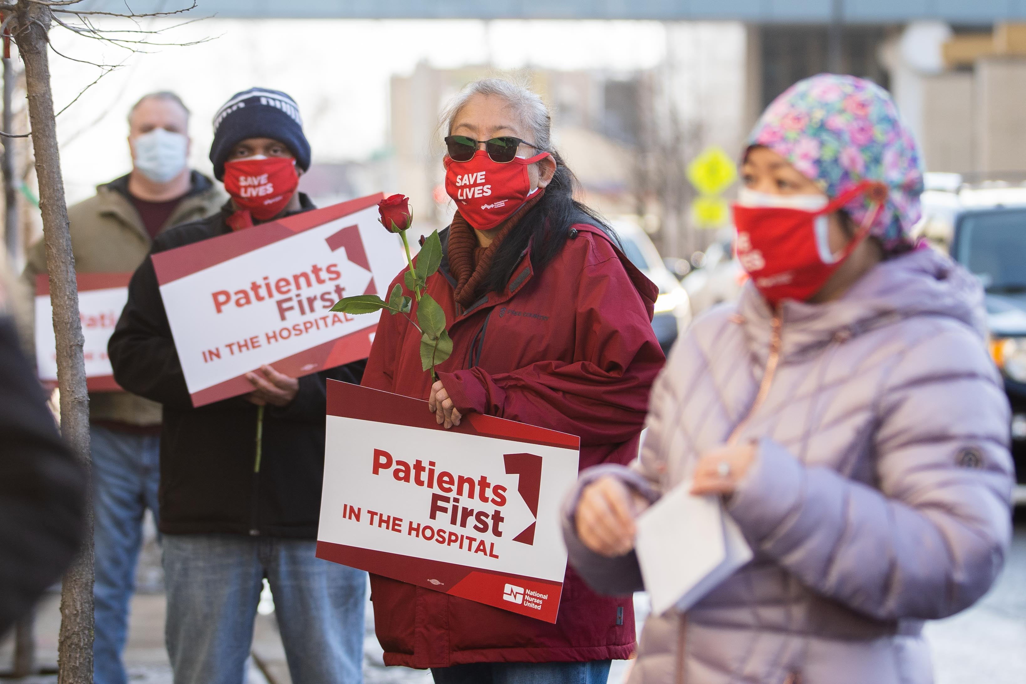 Unionized nurses protest outside Community First Medical Center in February 2021.