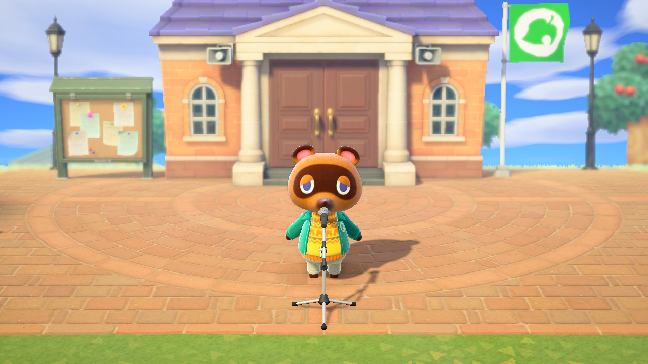Tom Nook stands in front of a microphone to give the daily announcements