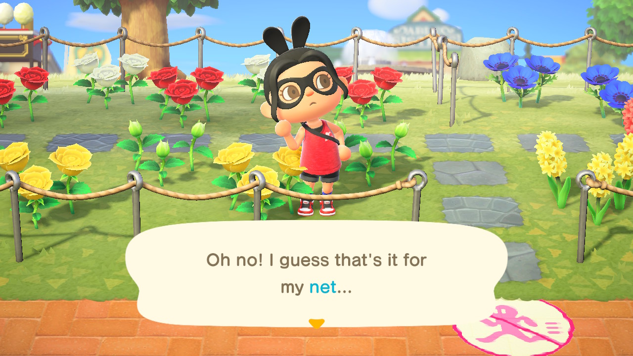 An Animal Crossing character in a garden laments over the loss of her net
