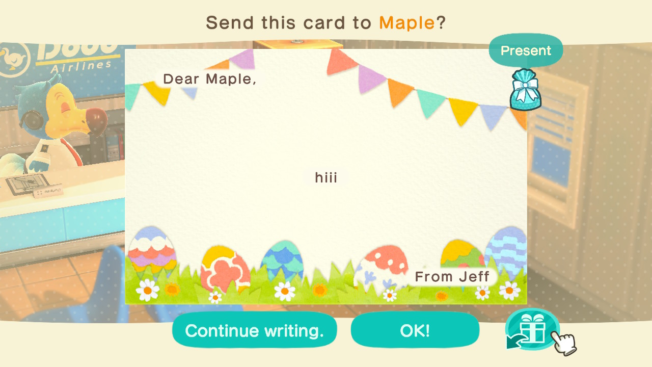 A letter with a gift attached in Animal Crossing: New Horizons