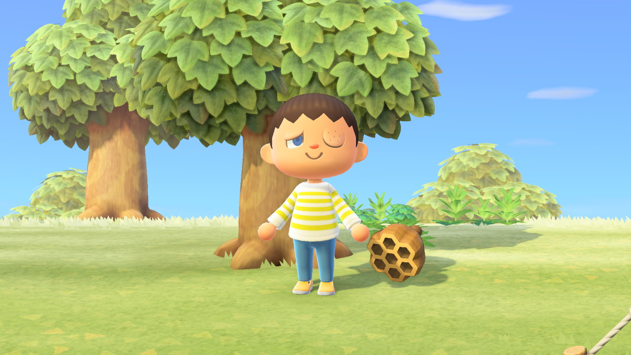 A villager with a bee sting in Animal Crossing: New Horizons