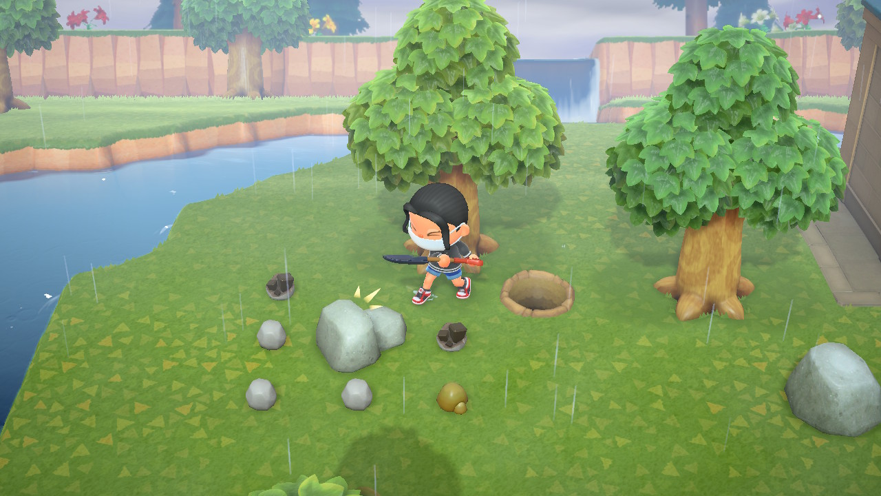 An Animal Crossing villager hits a rock, making rocks and ore pop out