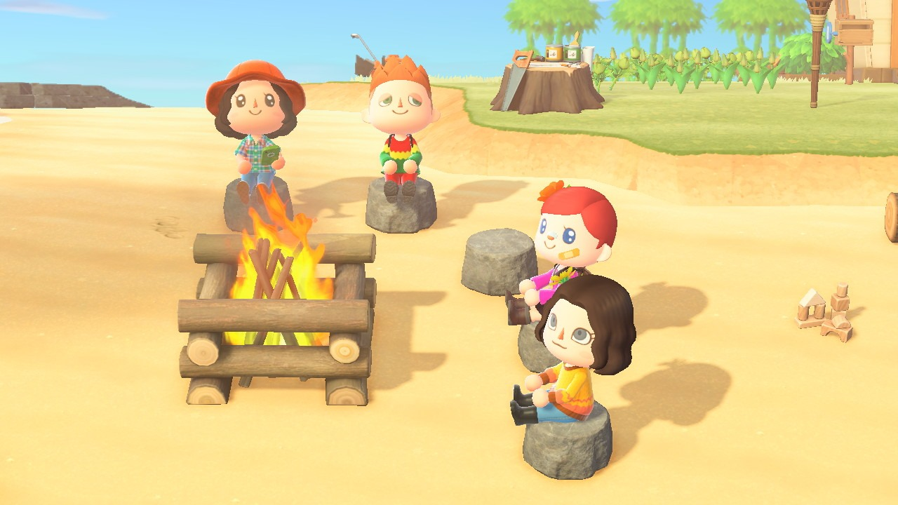 A group of Animal Crossing humans sitting around a campfire
