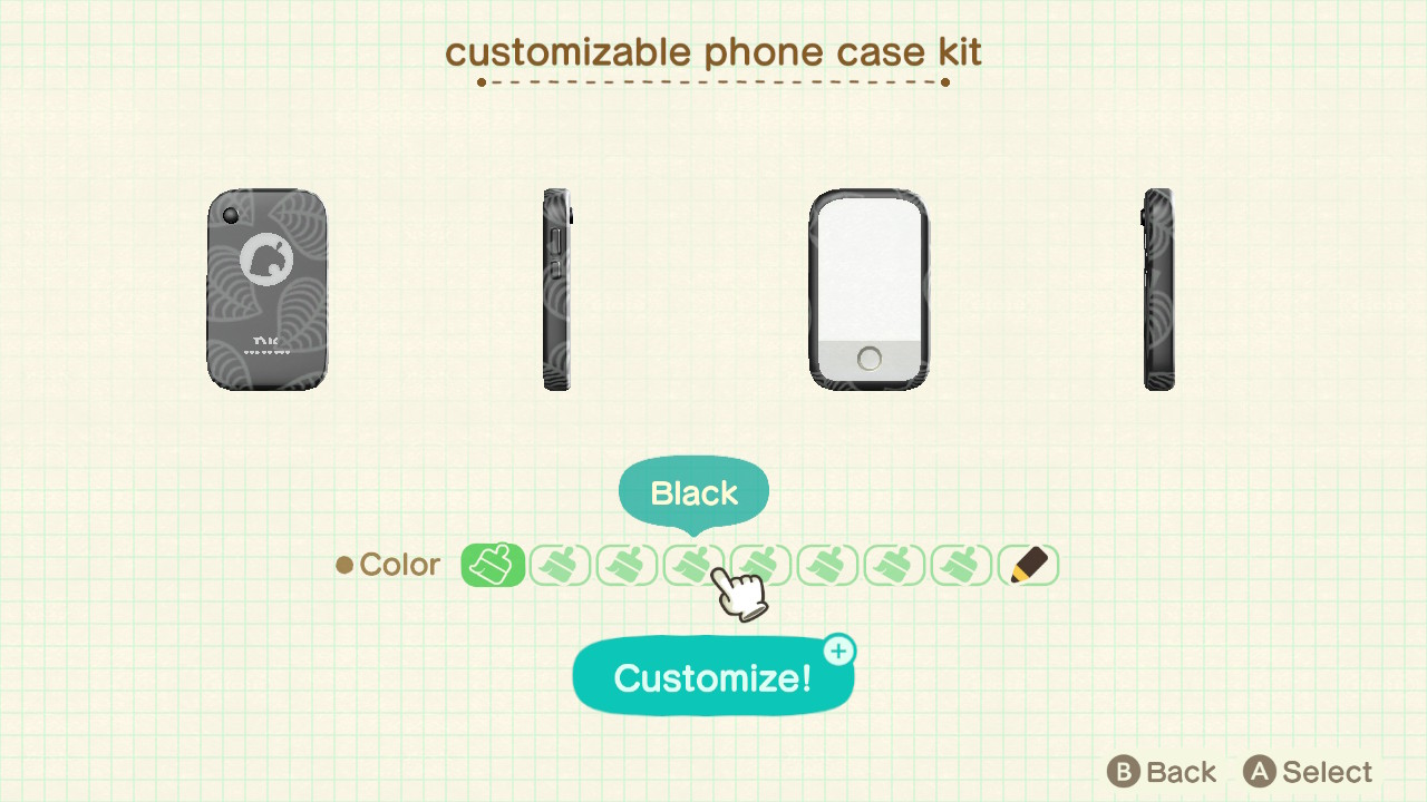 The menu for customizing a phone in Animal Crossing: New Horizons