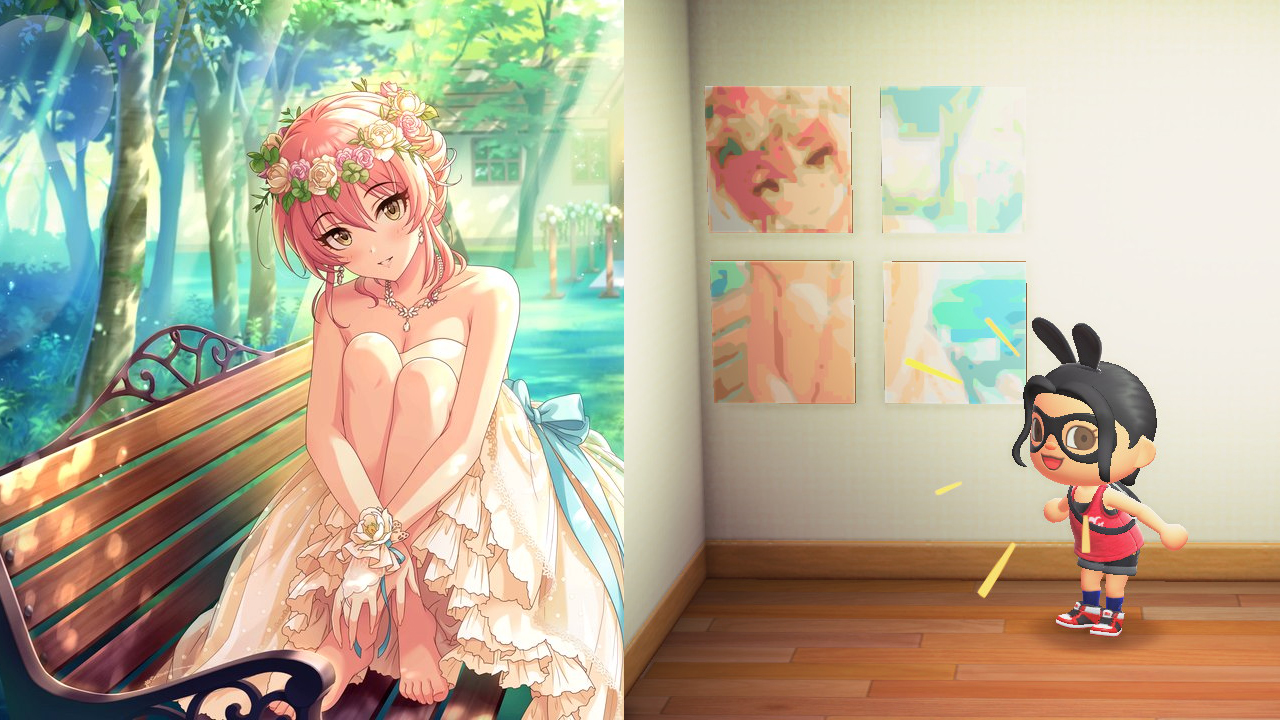 An Animal Crossing character excited stands in front of a mural of an anime girl with pink hair, with the full drawing as a comparison