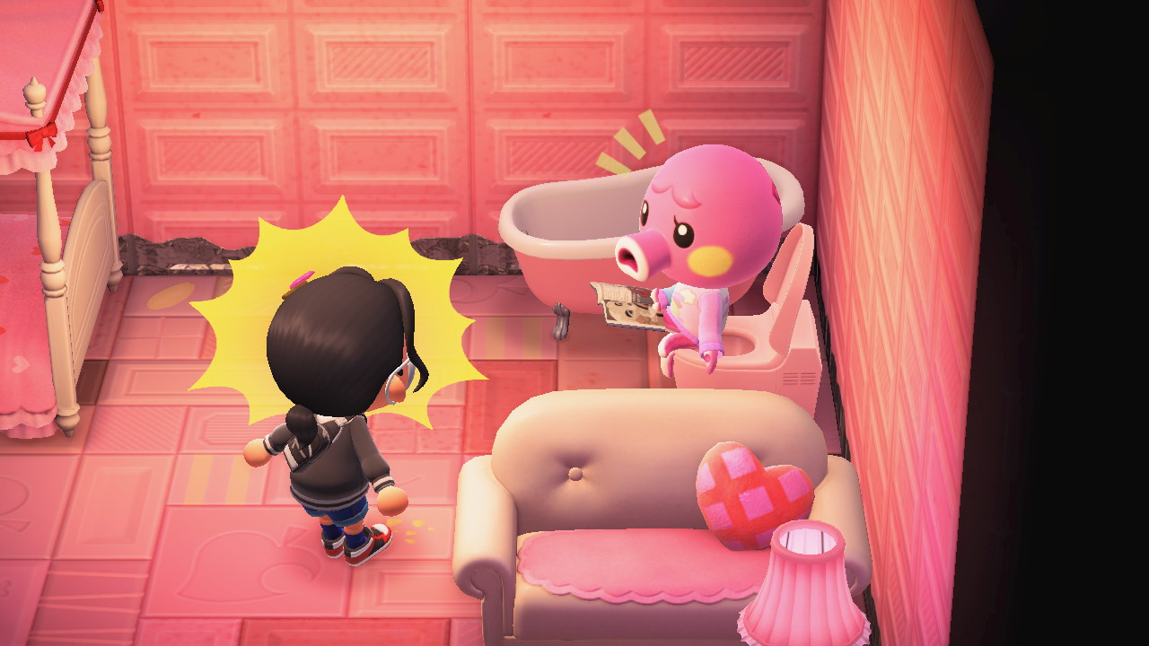 An octopus sits on a toilet while a villager looks shocked in a screenshot from Animal Crossing: New Horizons
