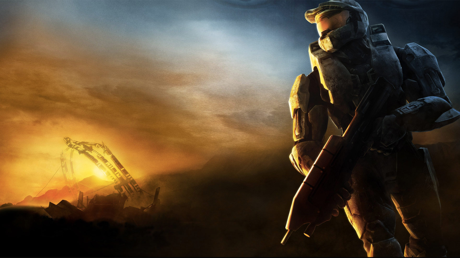 Master Chief looking out onto a sunset