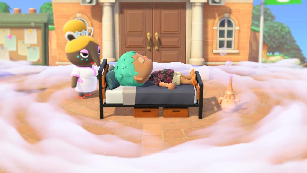 An Animal Crossing character lays on a bed, surrounded by mist, in the middle of the town plaza