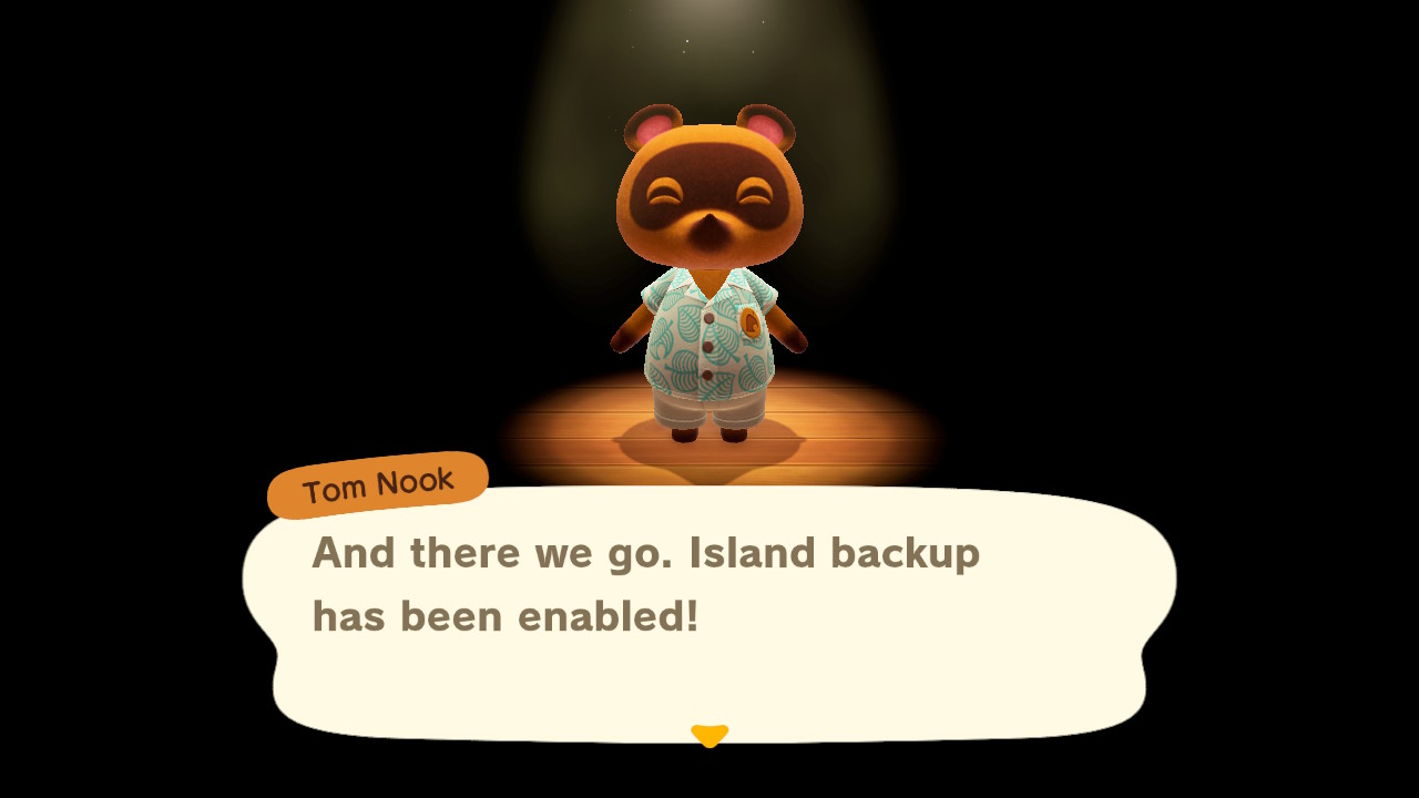 Tom Nook in a dark room, only illuminated by a spotlight, notes that the Animal Crossing: New Horizons island backup has been enabled