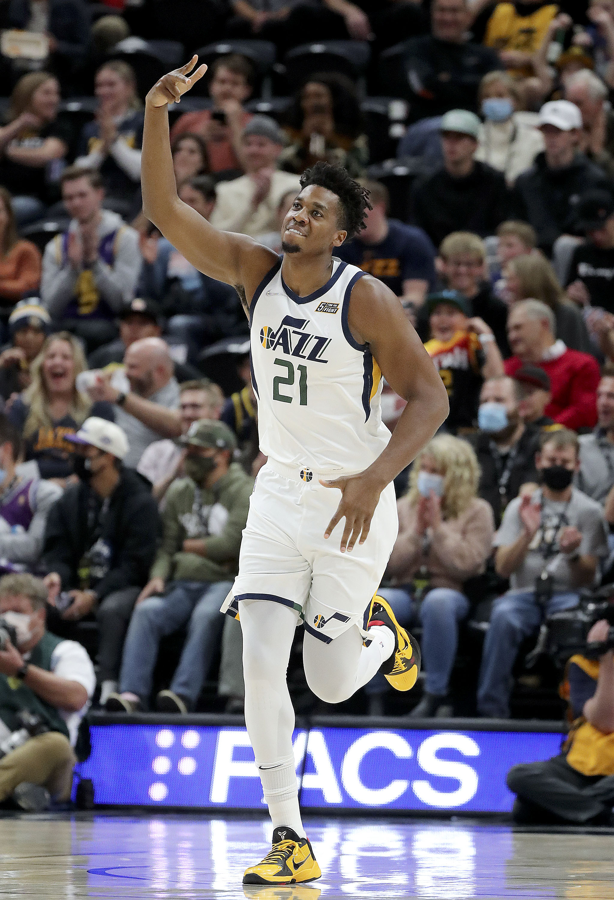 Utah Jazz center Hassan Whiteside reacts to a play during a preseason game vs. the New Orleans Pelicans at the Vivint Arena.
