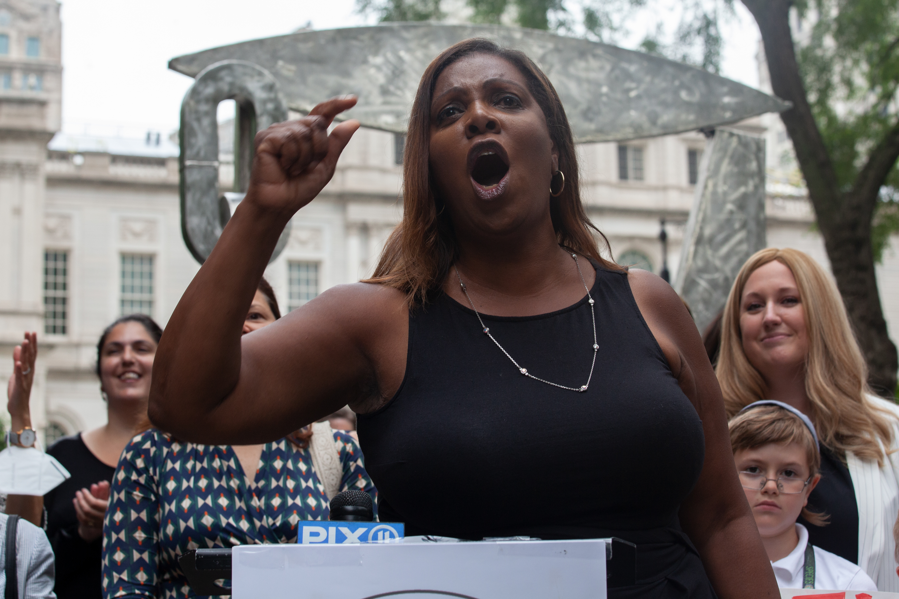 State Attorney General Letitia James speaks at a rally in City Hall Park supporting female political candidates, July 13, 2021.