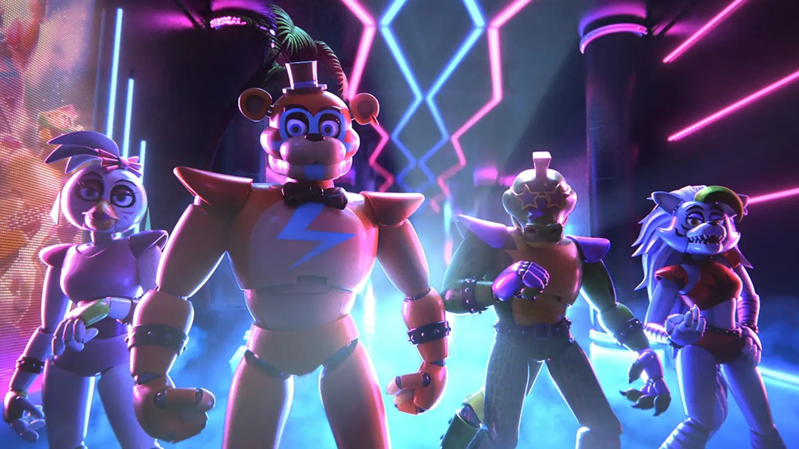 four creepy animatronic robots standing in front of neon lights
