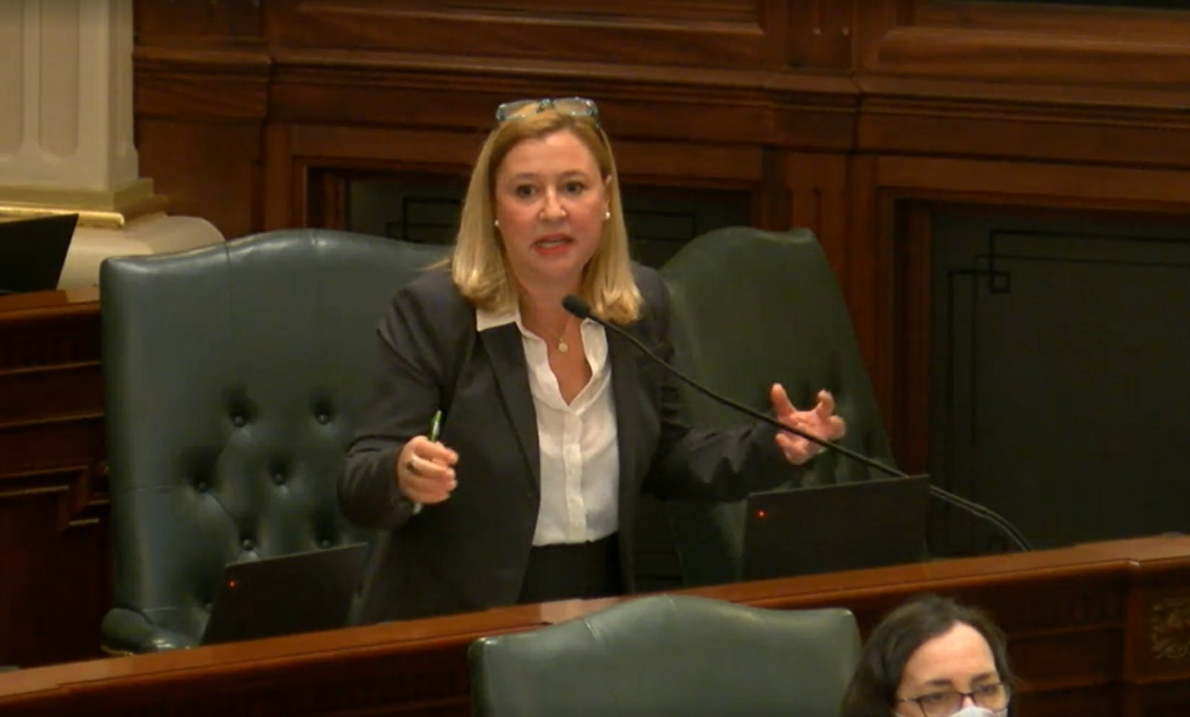 State Rep. Anna Moeller speaks on the House floor late Wednesday night.